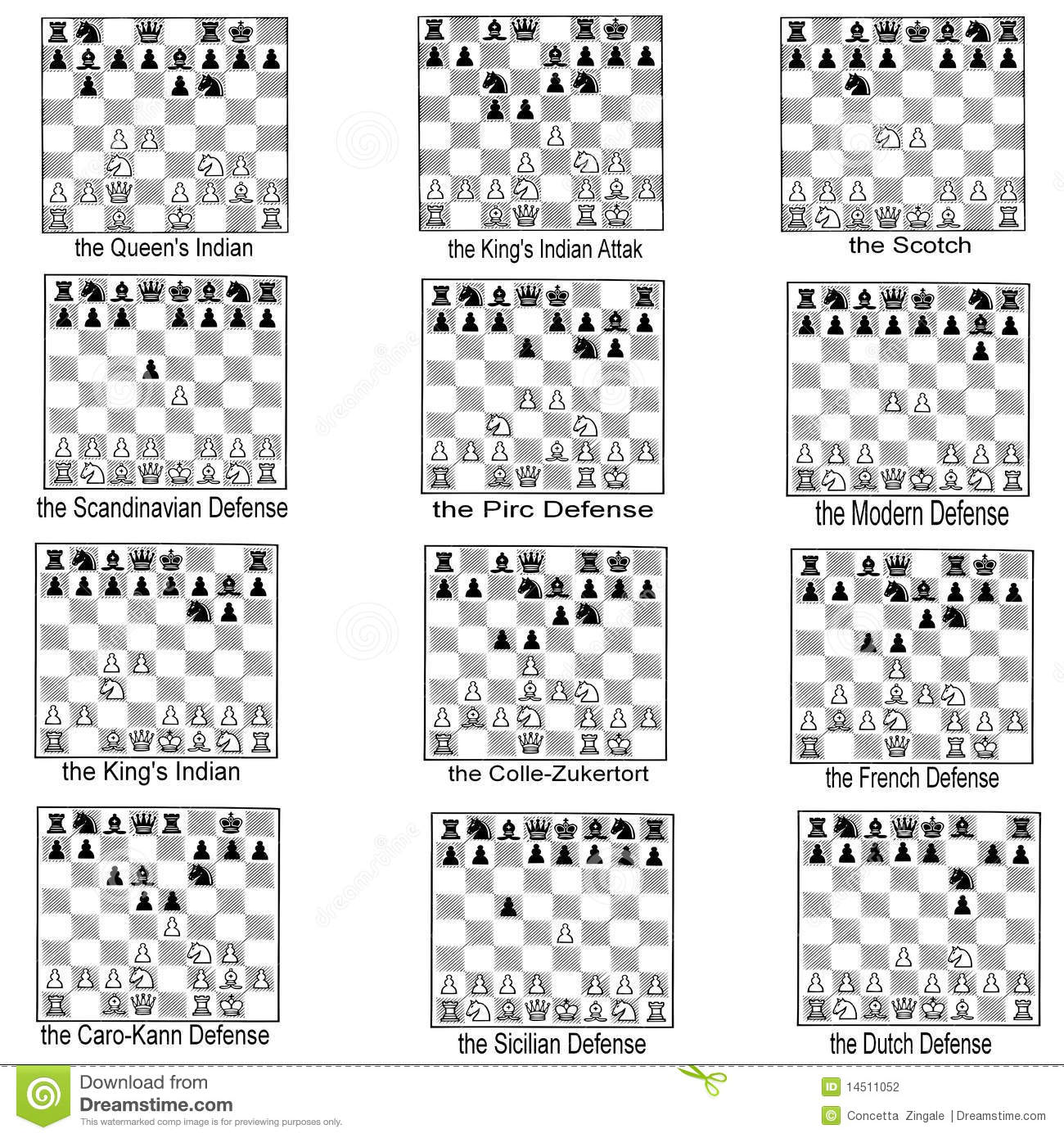 collection of chess openings stock photography
