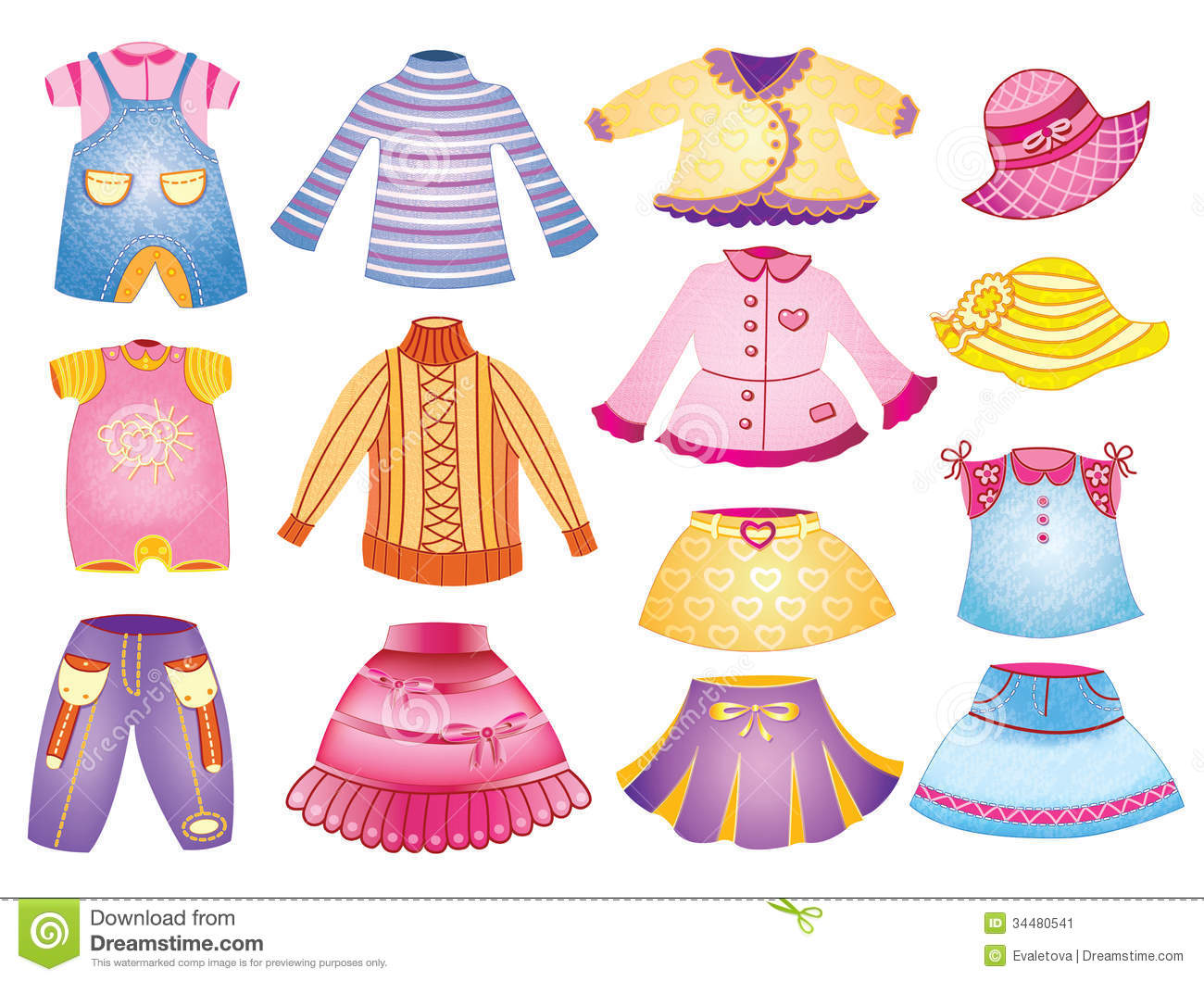 Collection Of Children's Clothing Stock Image - Image ...: http://www.dreamstime.com/stock-image-collection-children-s-clothing-clothi-vector-illustration-ng-image34480541