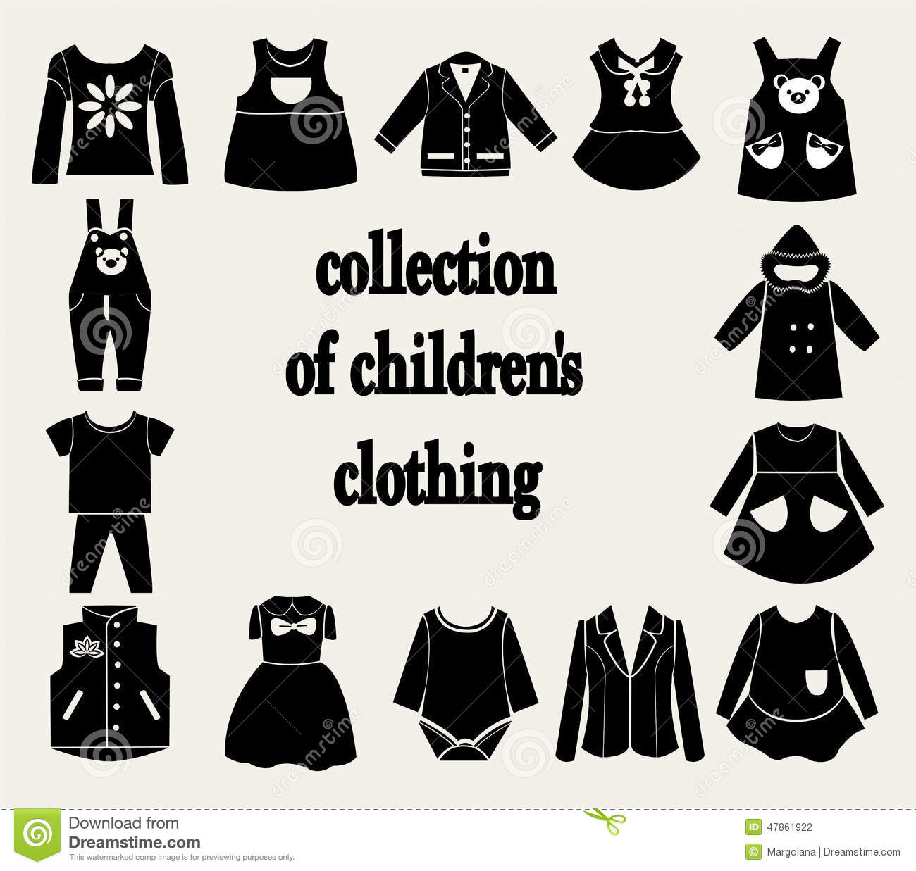 Collection Of Children S Clothing Stock Vector Illustration Of