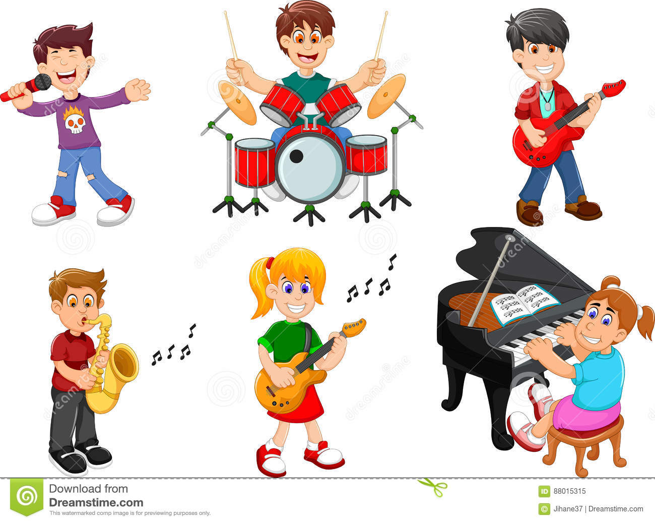 Collection Of Musical Instruments Vector Illustration ...