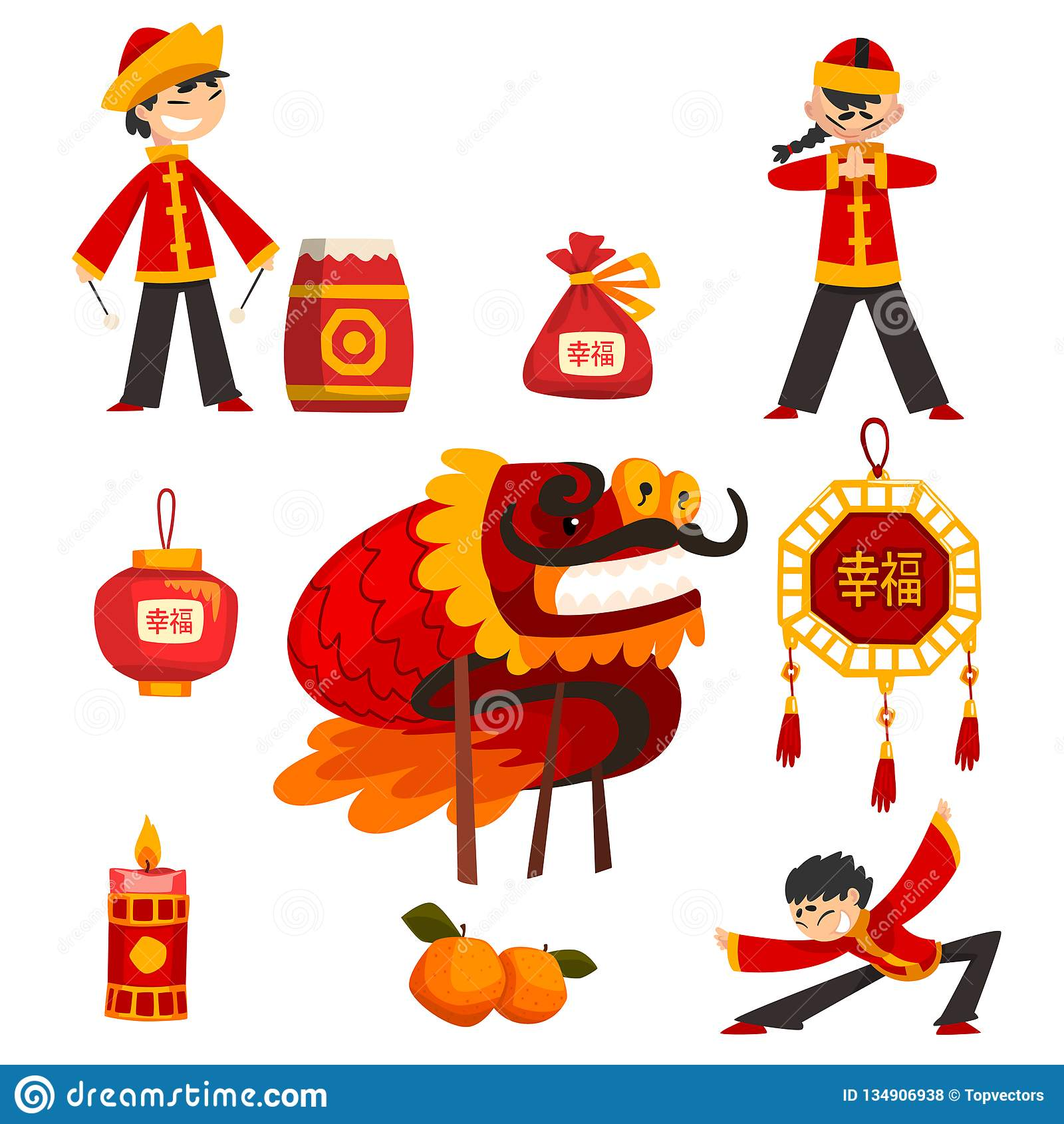 Collection of Chinese New Year decoration elements, boy in traditional costume, candle, dragon, lucky bag, tangerine