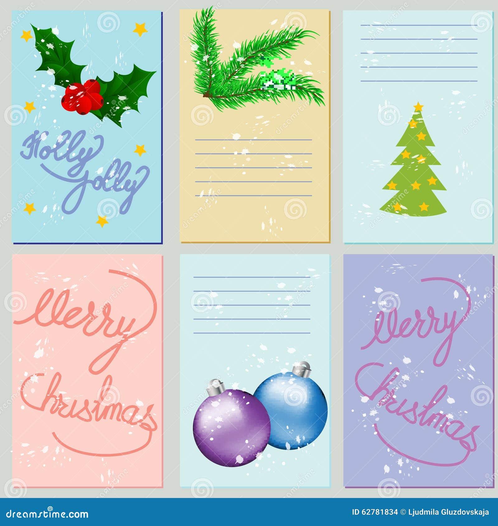 Collection Of 6 Christmas Card Templates Christmas Posters Set