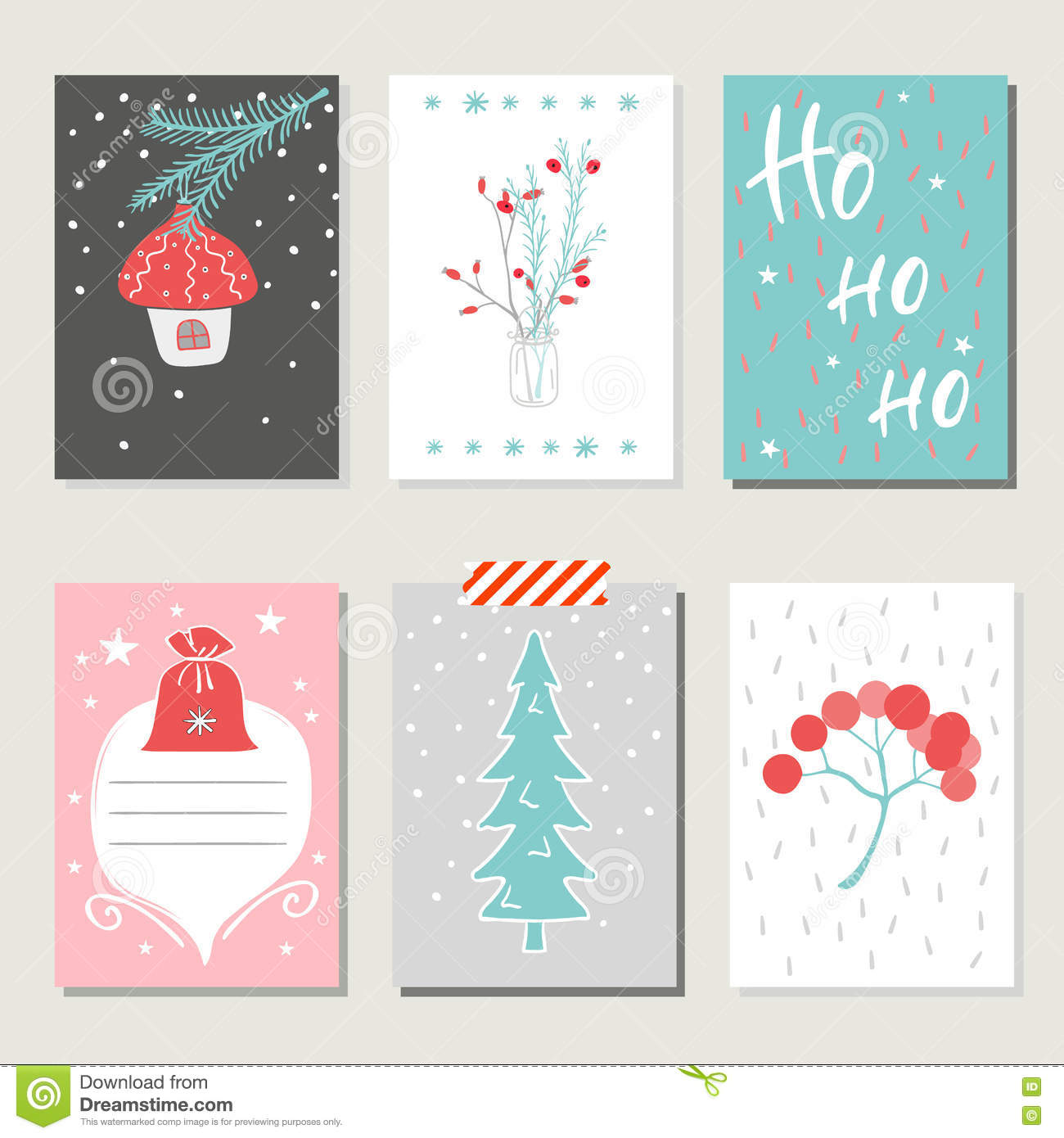 Collection Of 6 Christmas Card Templates. Stock Vector ...