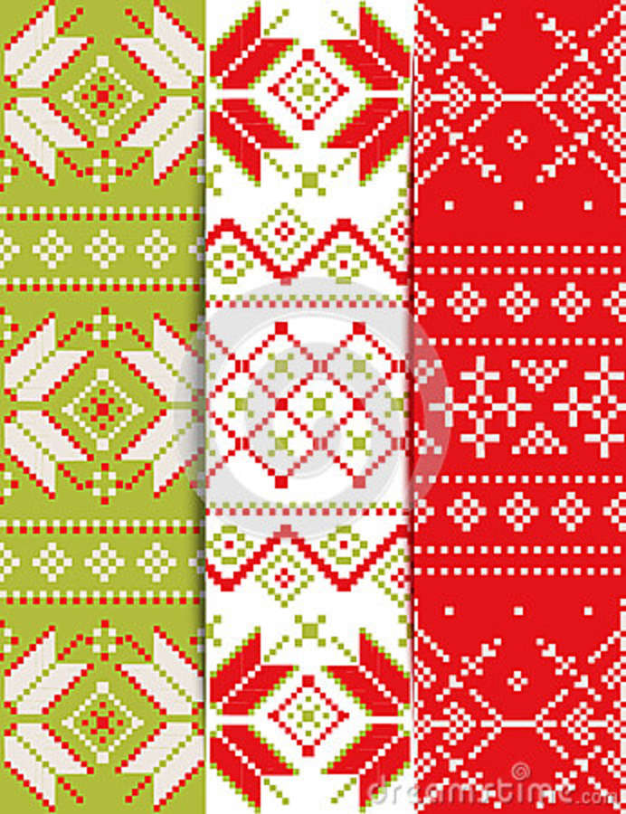 Collection Of Christmas Embroidery Pattern Stock Vector