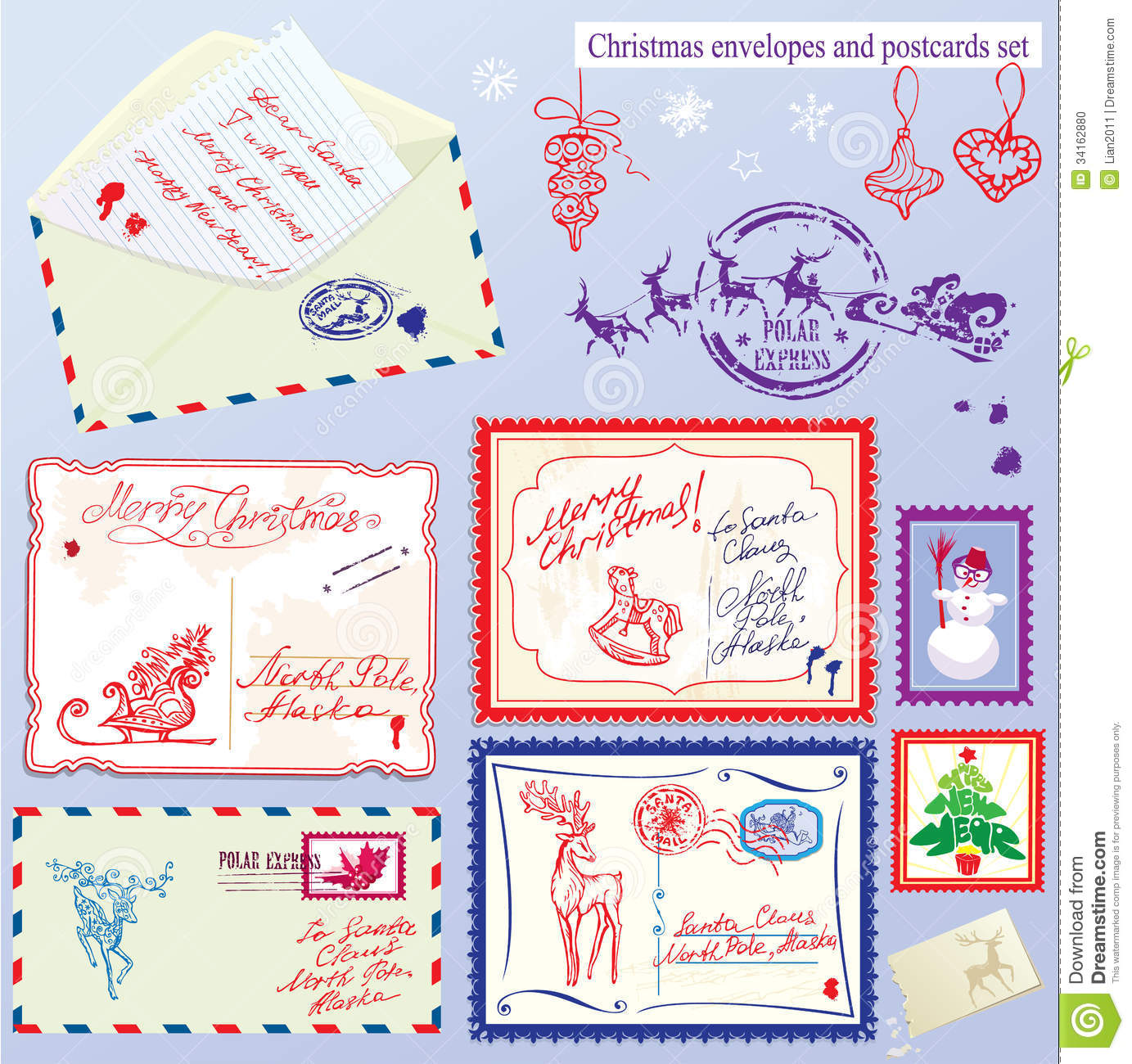 Collection of christmas envelops postcards stamp stock Which side does a stamp go on