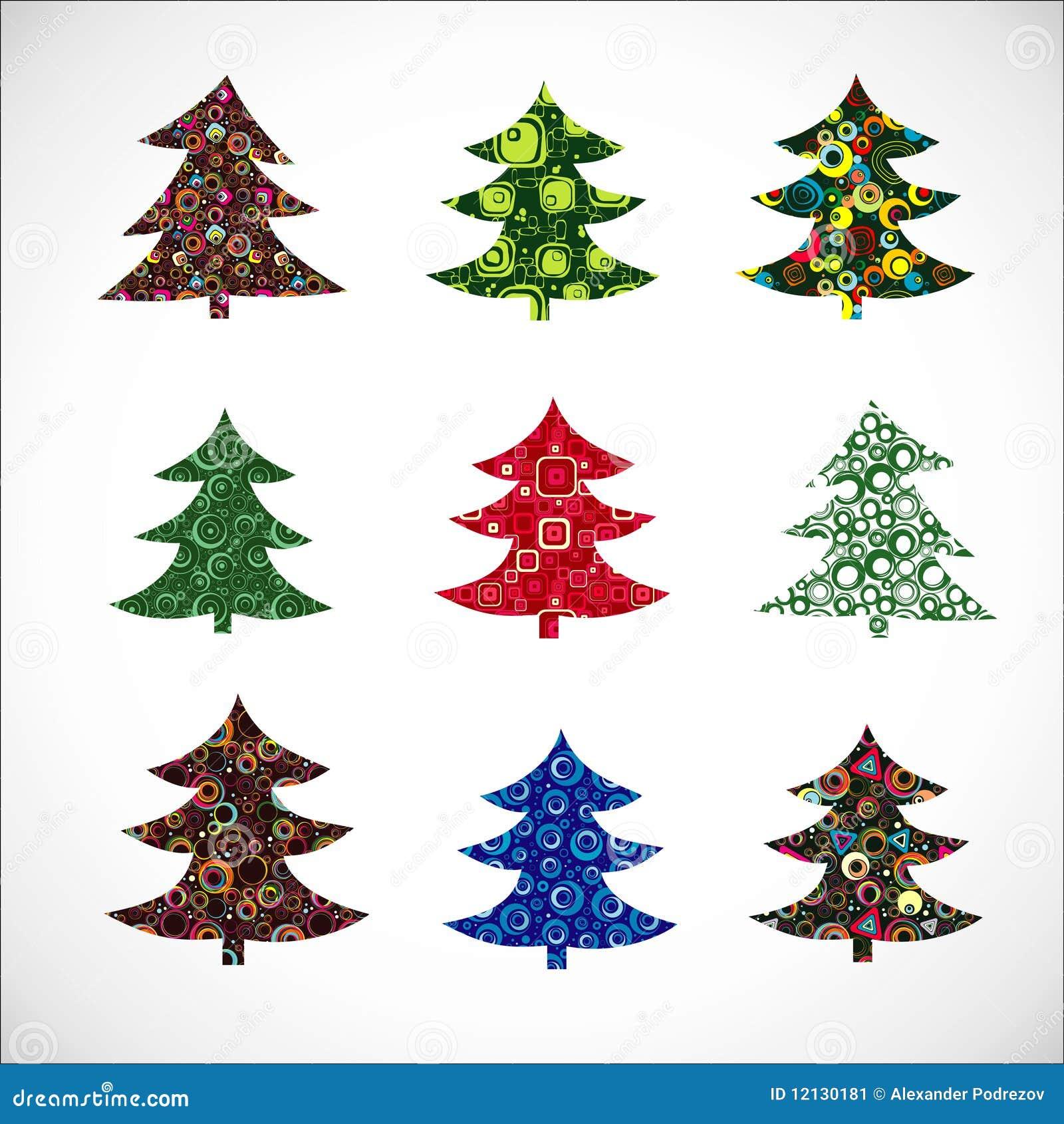 Christmas Tree Collection Trowbridge : Collection christmas fur tree stock image