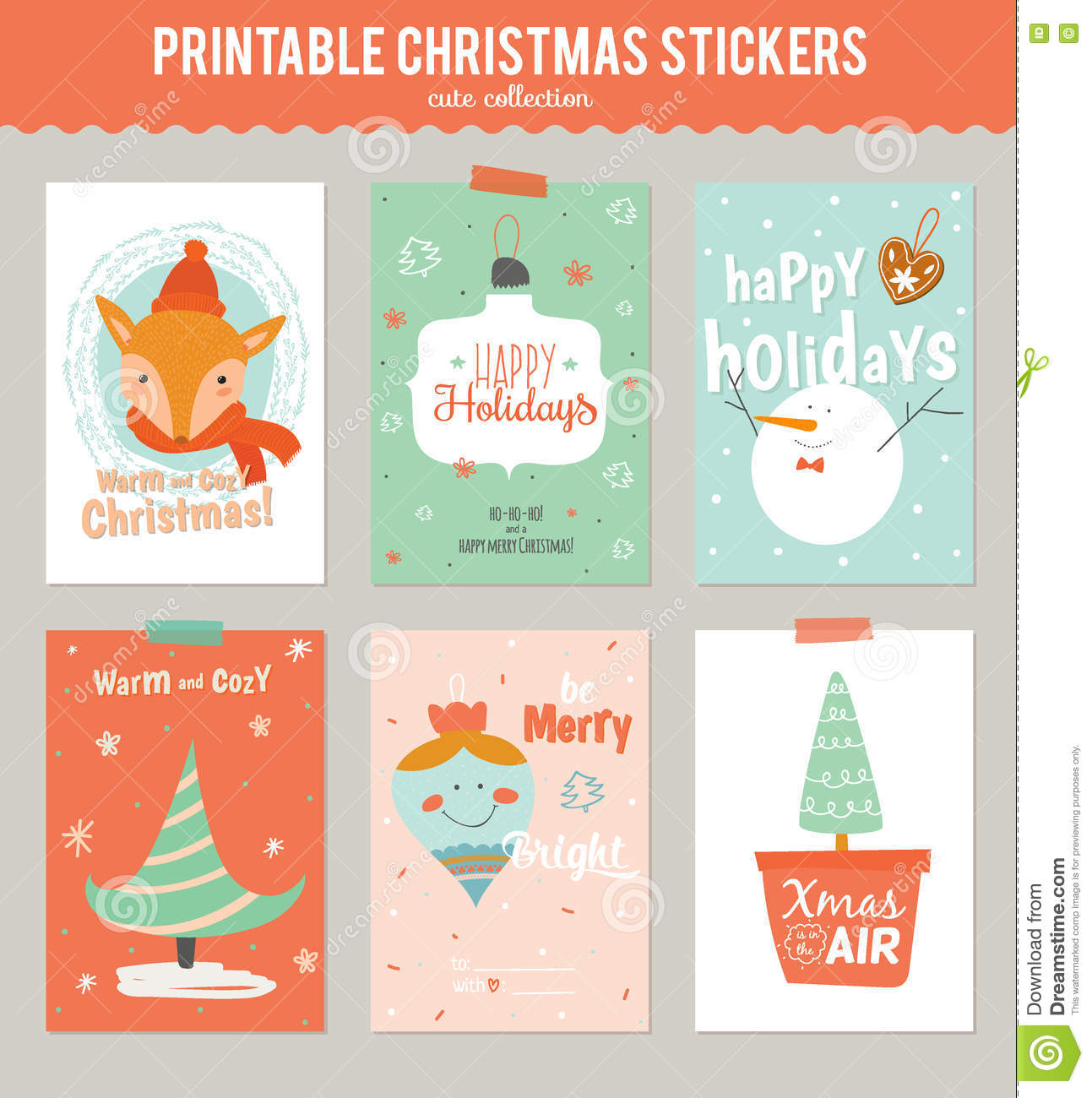 collection of 6 christmas gift tags and cards stock vector