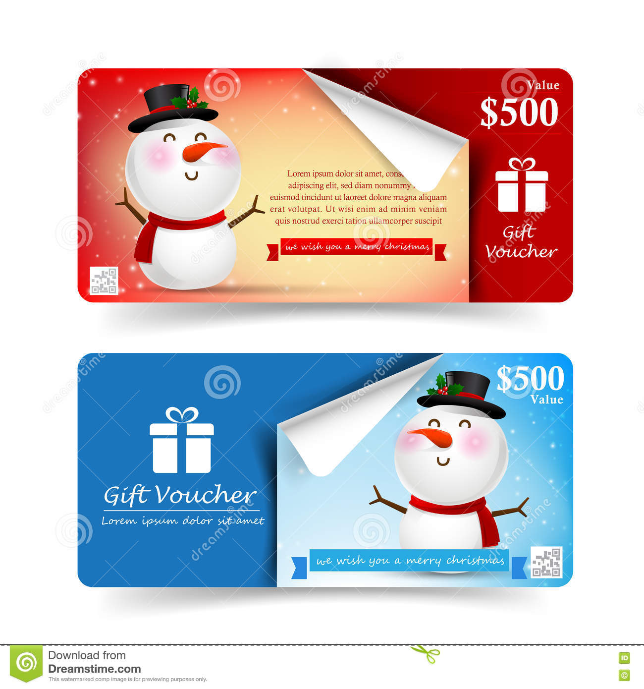 Collection Of Christmas Gift Voucher Tag Banner Promotion Sale Stock ...