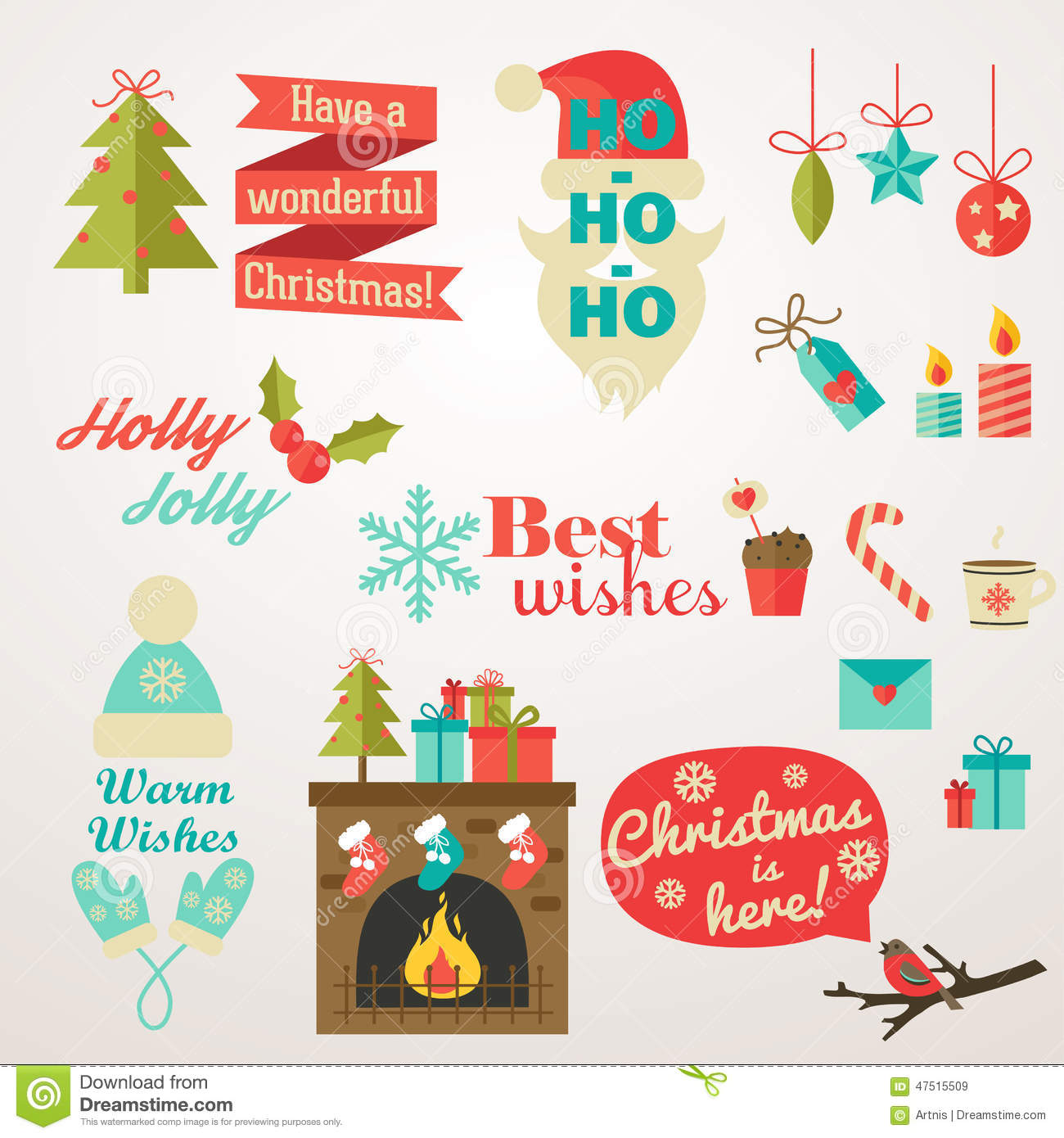 Collection of christmas and new year greeting phrases and elements download collection of christmas and new year greeting phrases and elements stock vector illustration of m4hsunfo