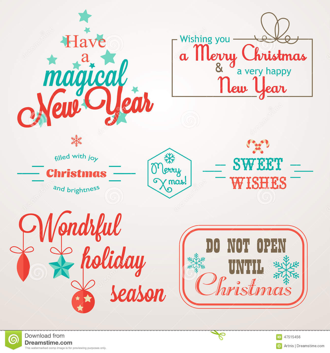 Collection Of Christmas And New Year Greeting Phrases And Elements ...
