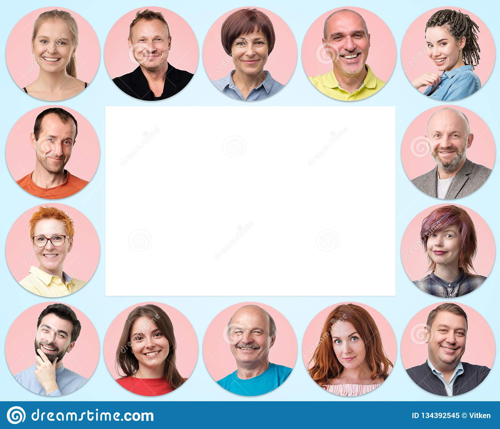 Collection of circle avatar of people. Young and senior men and women faces on pink color.