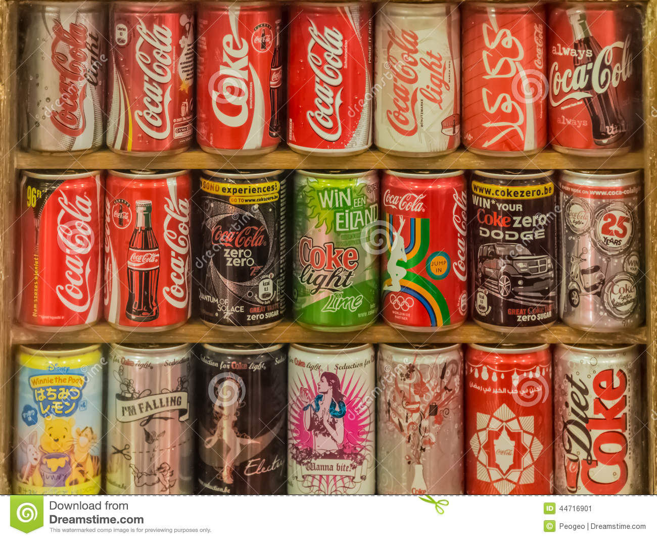 Collection of coca cola cans in many international edition for International decor brands