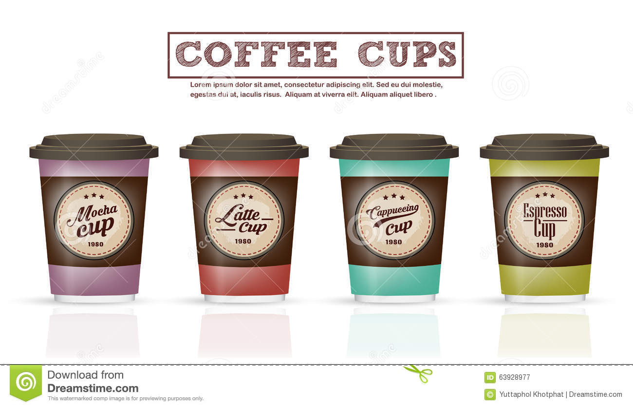 Collection Of Coffee Badges And Logo Design On Coffee Cup
