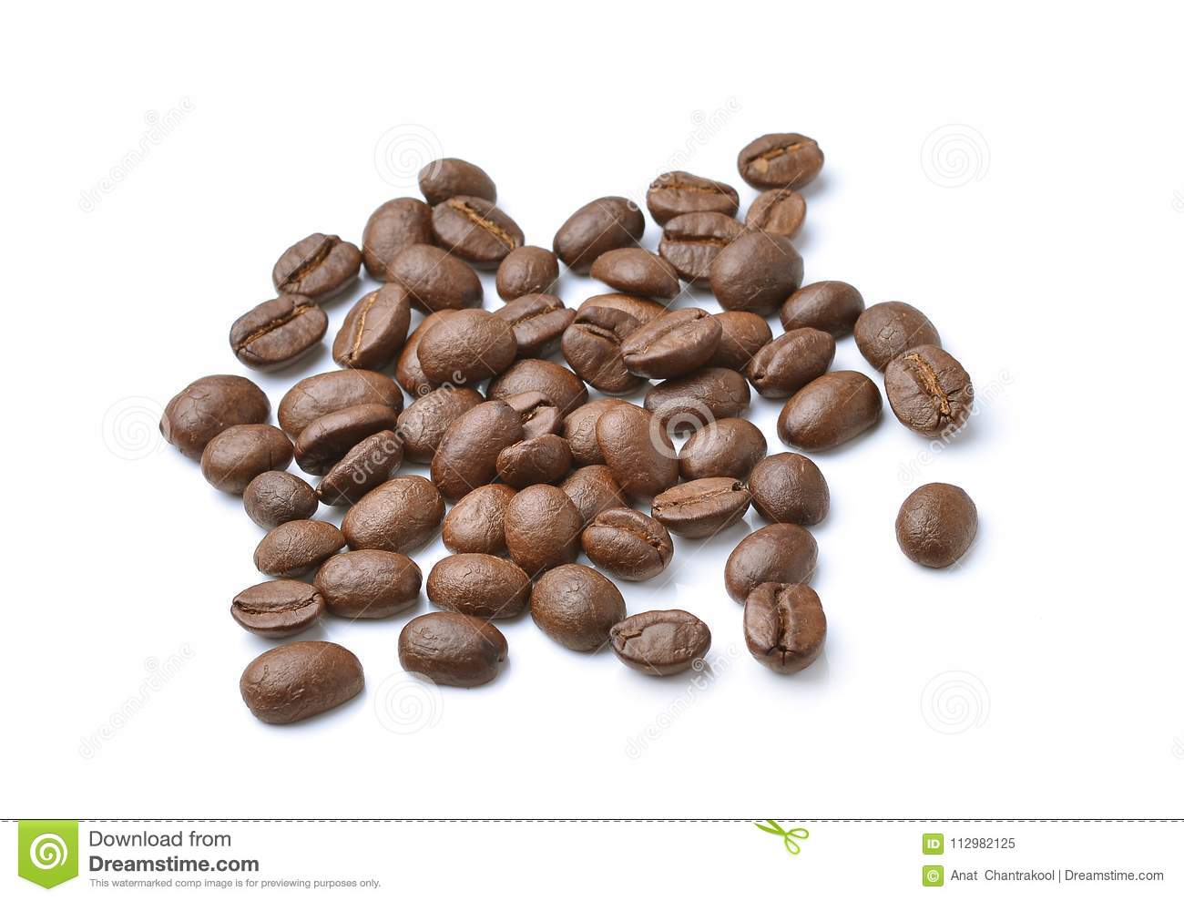 Collection of Coffee beans isolated on white background