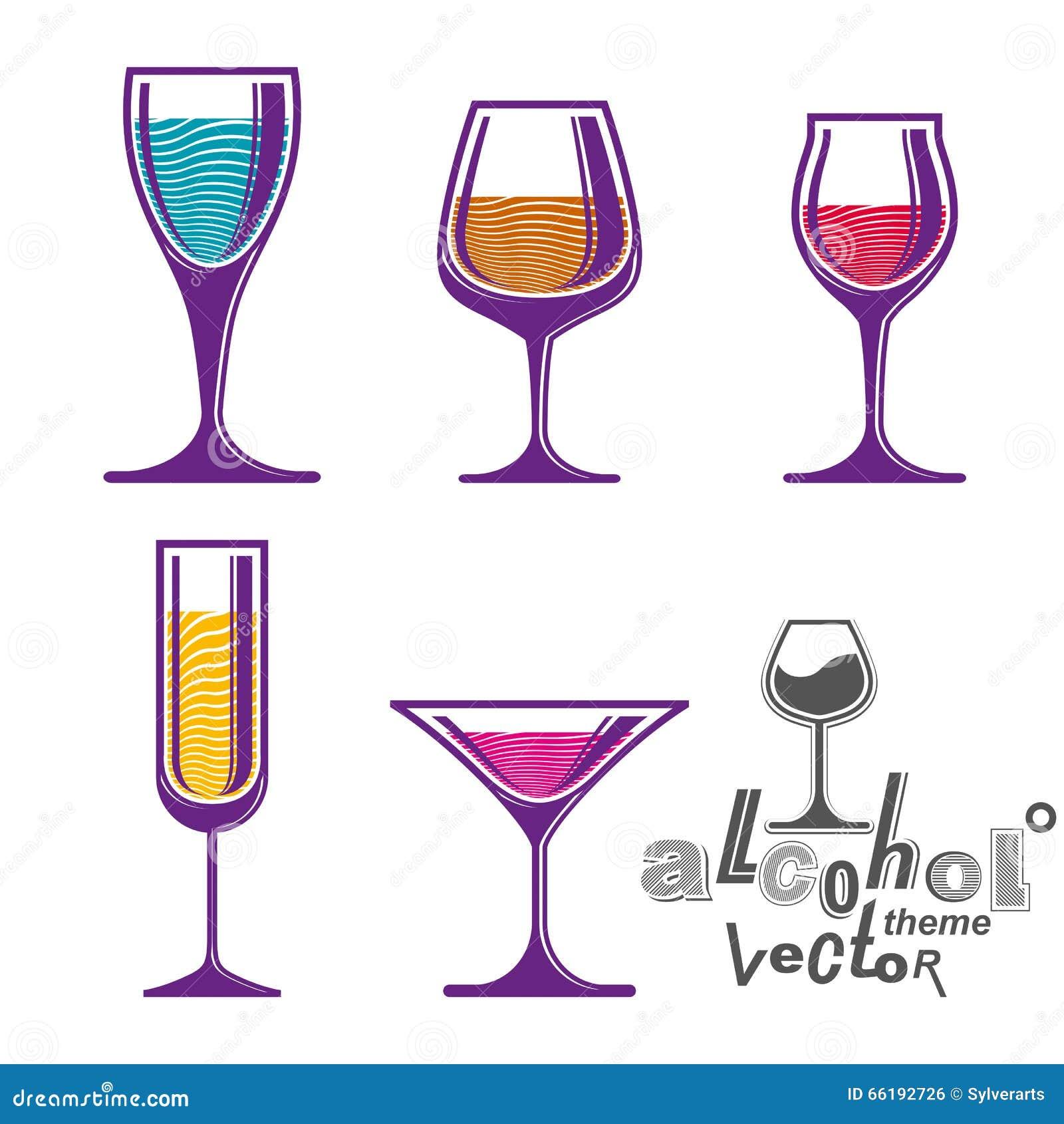 Collection Colorée En Verre, Martini, Vin, Cognac, Whiskey