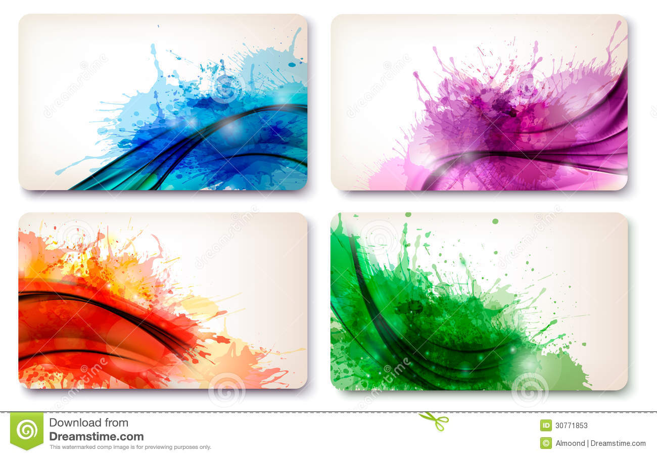 Collection Of Colorful Abstract Watercolor Cards. Stock Photos - Image ...