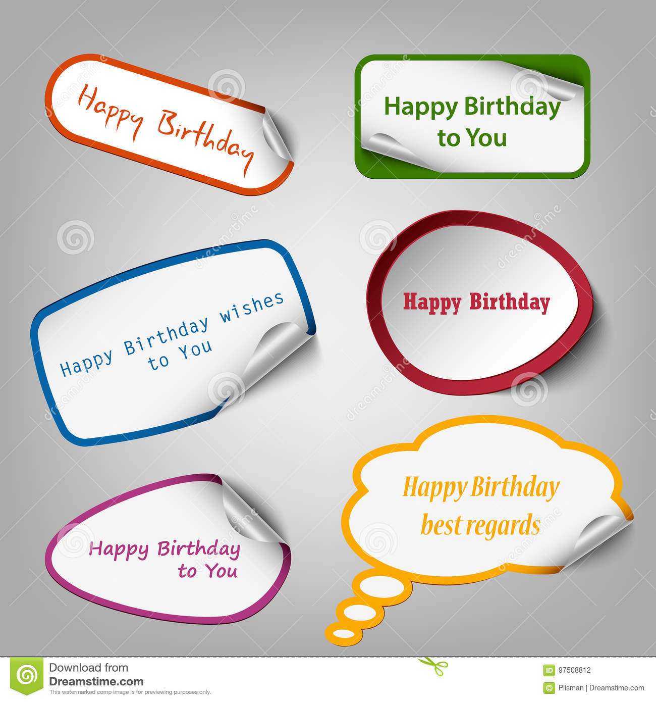 collection of colorful birthday stickers template stock vector