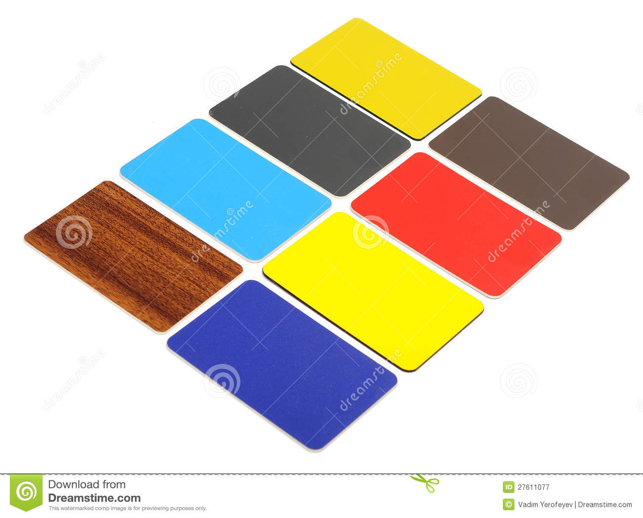 Collection of colorful plastic cards