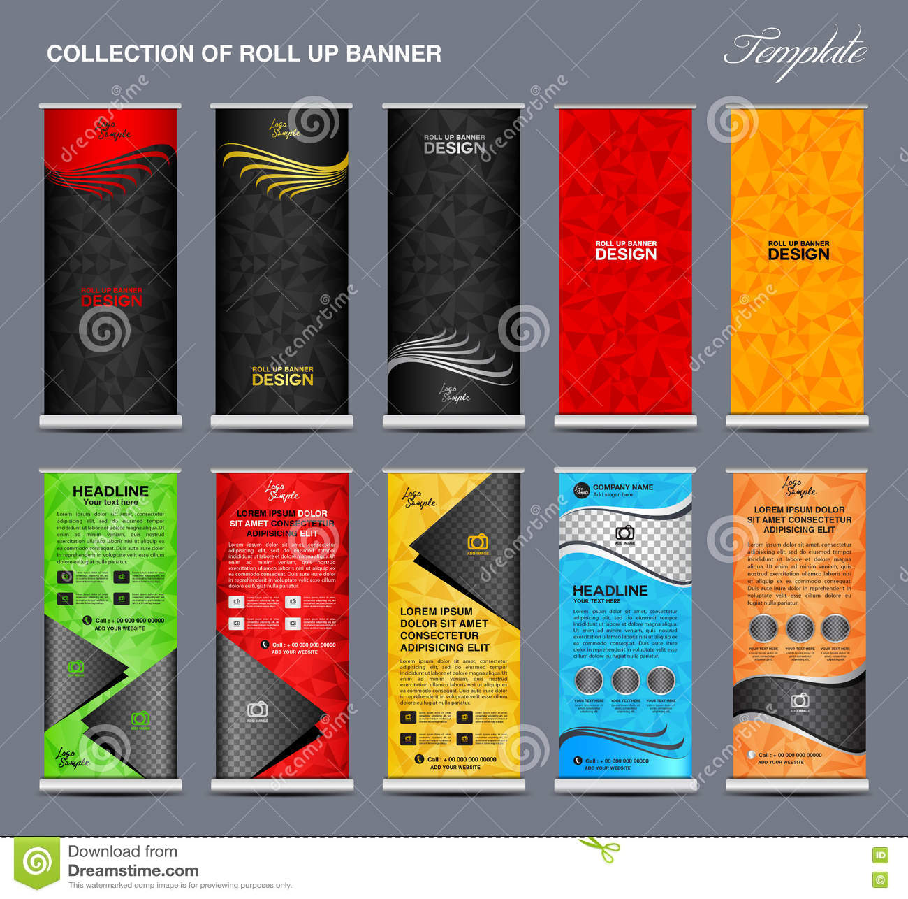 collection of colorful roll up banner design stand template stock