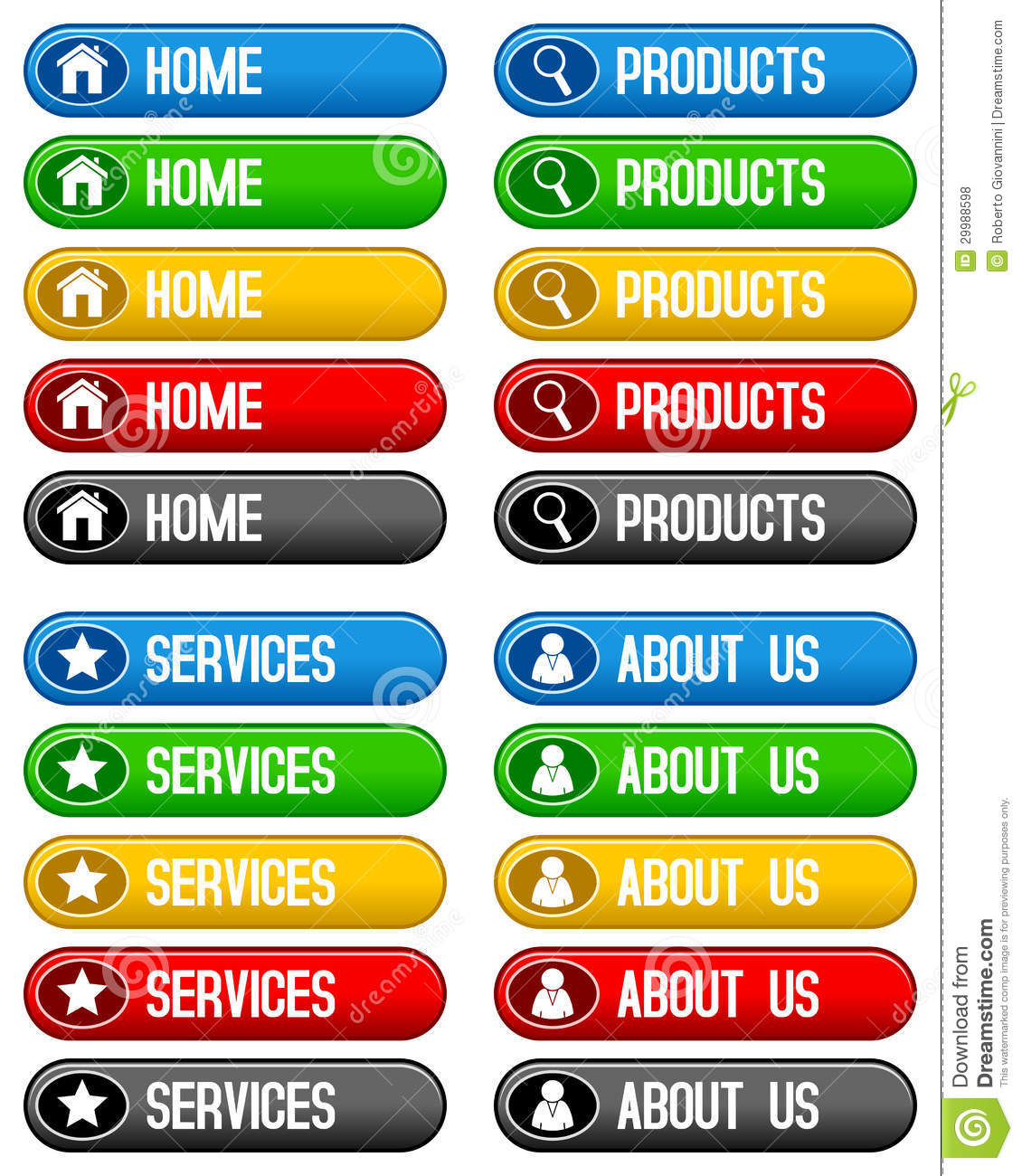 Home Products Services Buttons Stock Vector