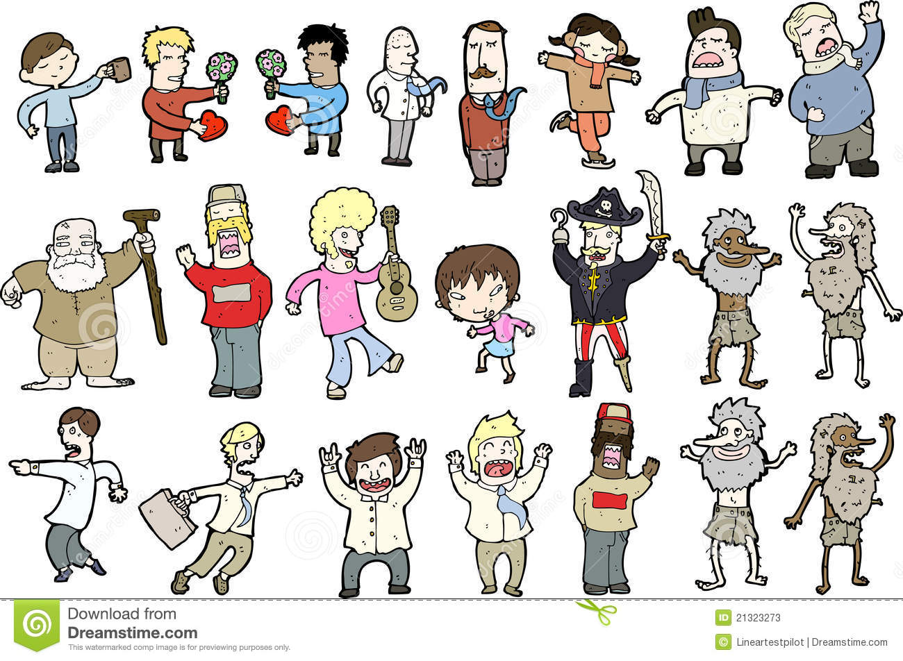 collection of comic characters stock vector illustration