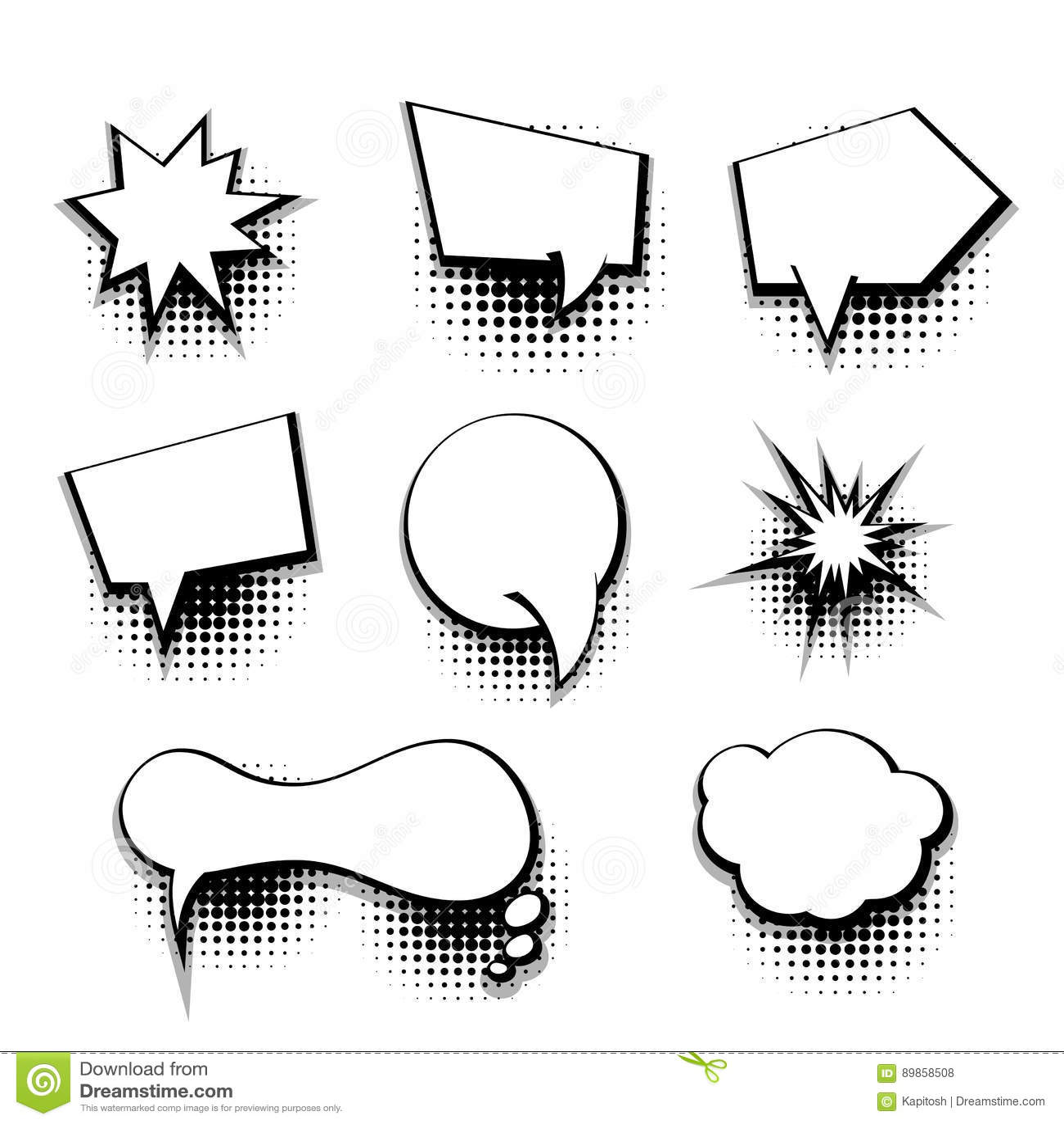 Collection Comic Text Blank Template Speech Bubble Stock Vector