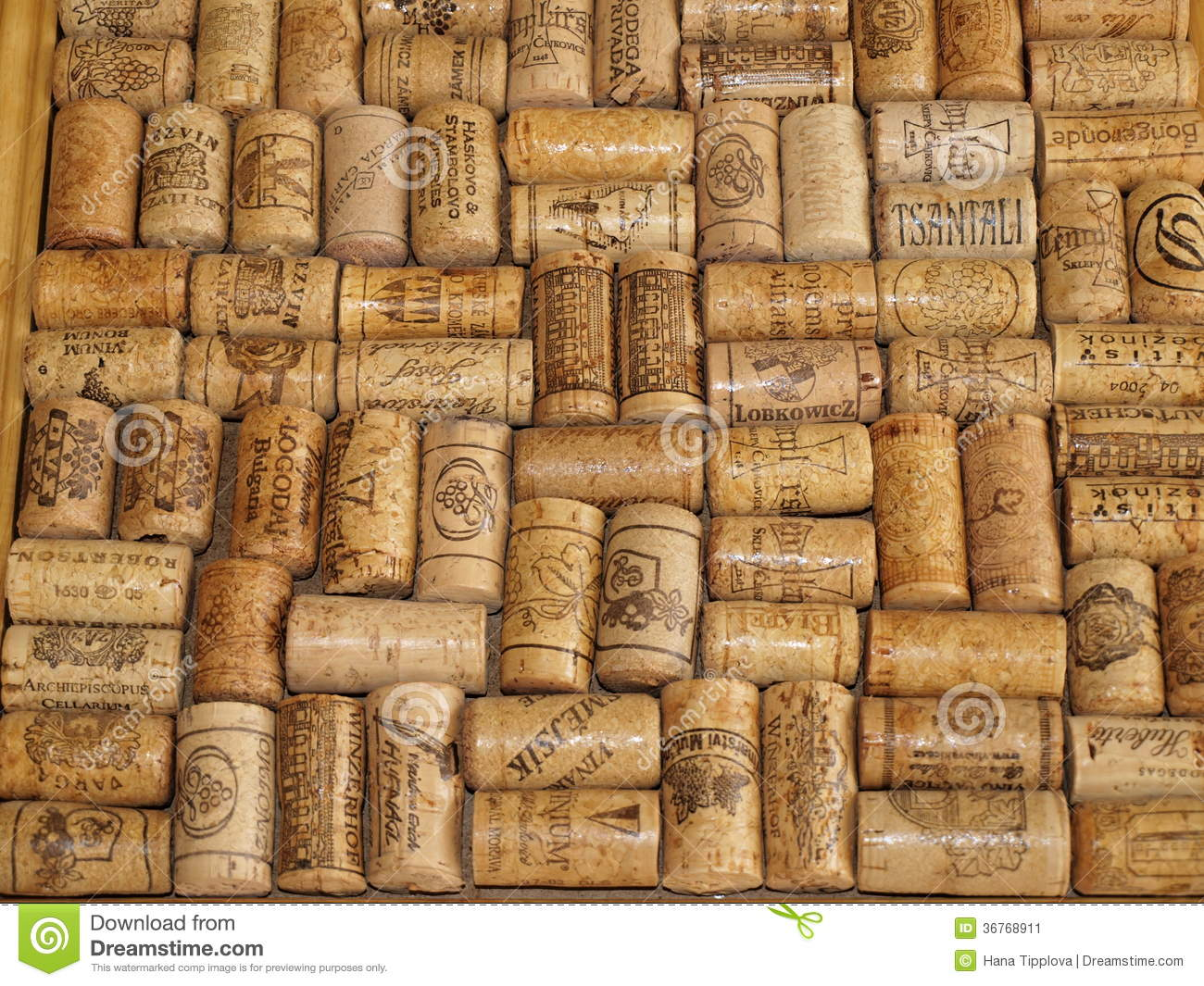 A collection of corks from wine bottles