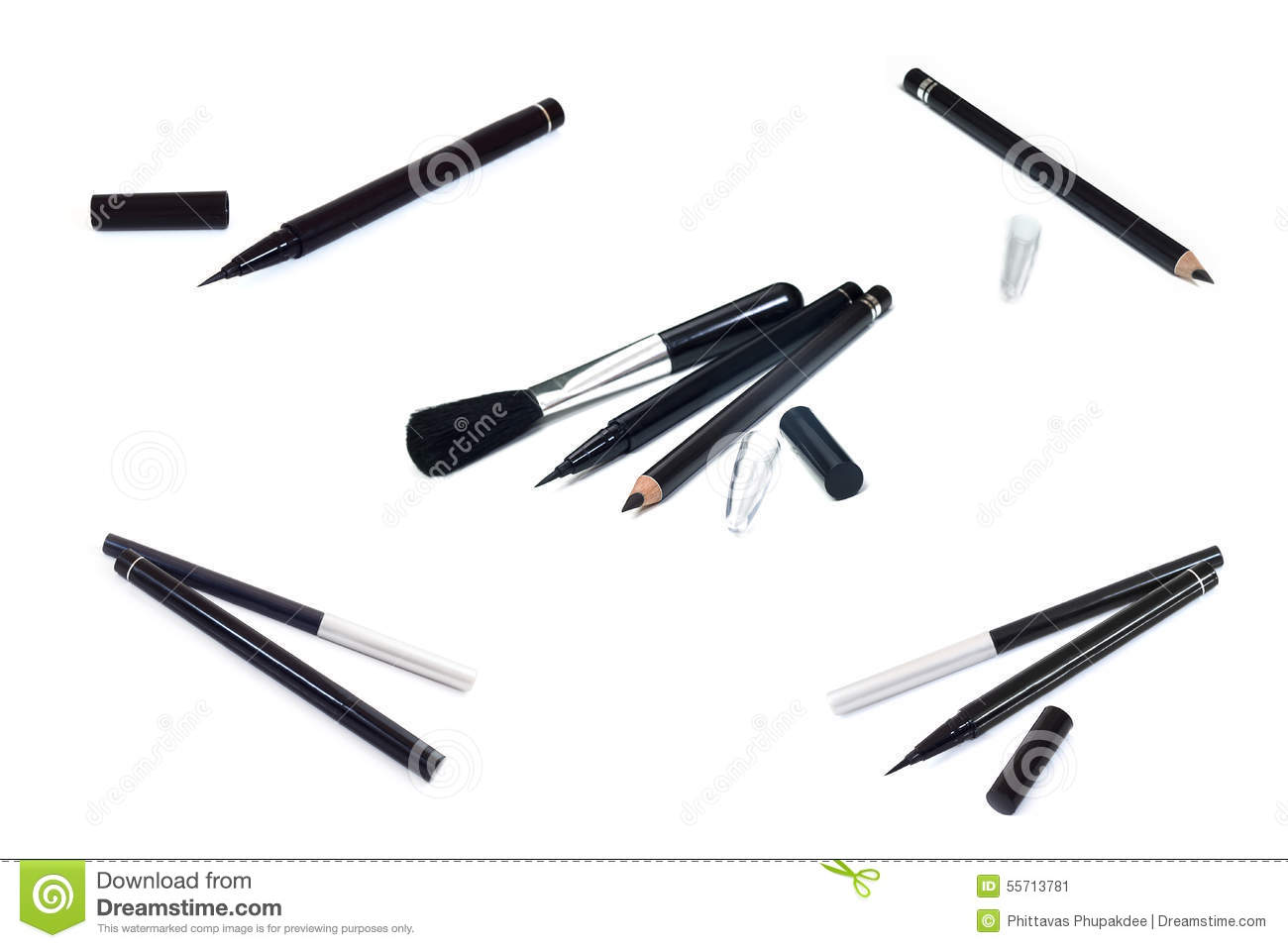 Collection of cosmetics makeup Eyeliner ,Black pencil eye liner