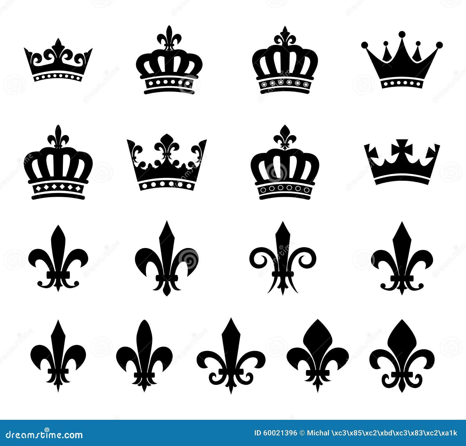 Collection Of Crown And Fleur De Lis Design Elements Stock ...