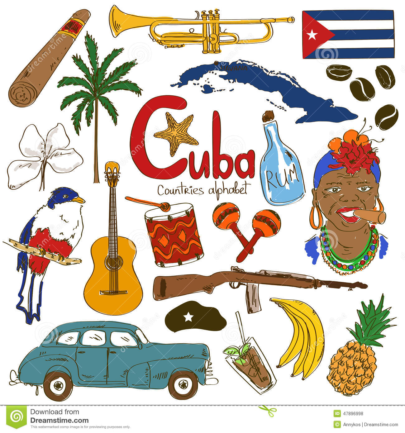 collection of cuban icons stock vector image 47896998 france clip art symbols france clip art border