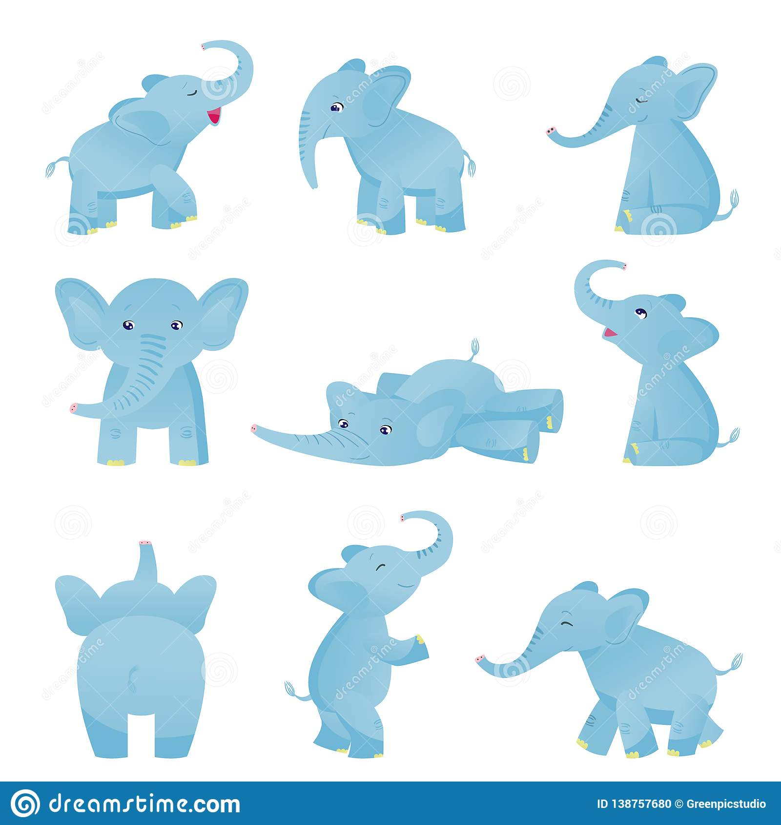 Collection of Cute Baby Elephant in Different Poses, Light Blue Lovely Animal Character Vector Illustration