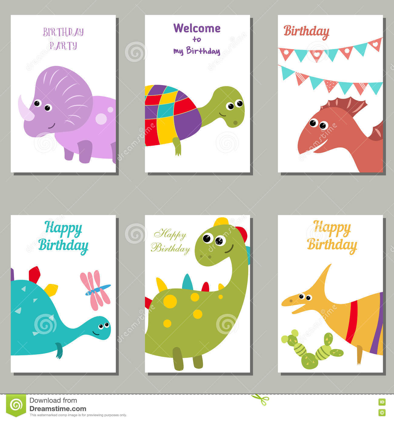 Collection Of Cute Birthday Cards. Stock Vector - Illustration of ...