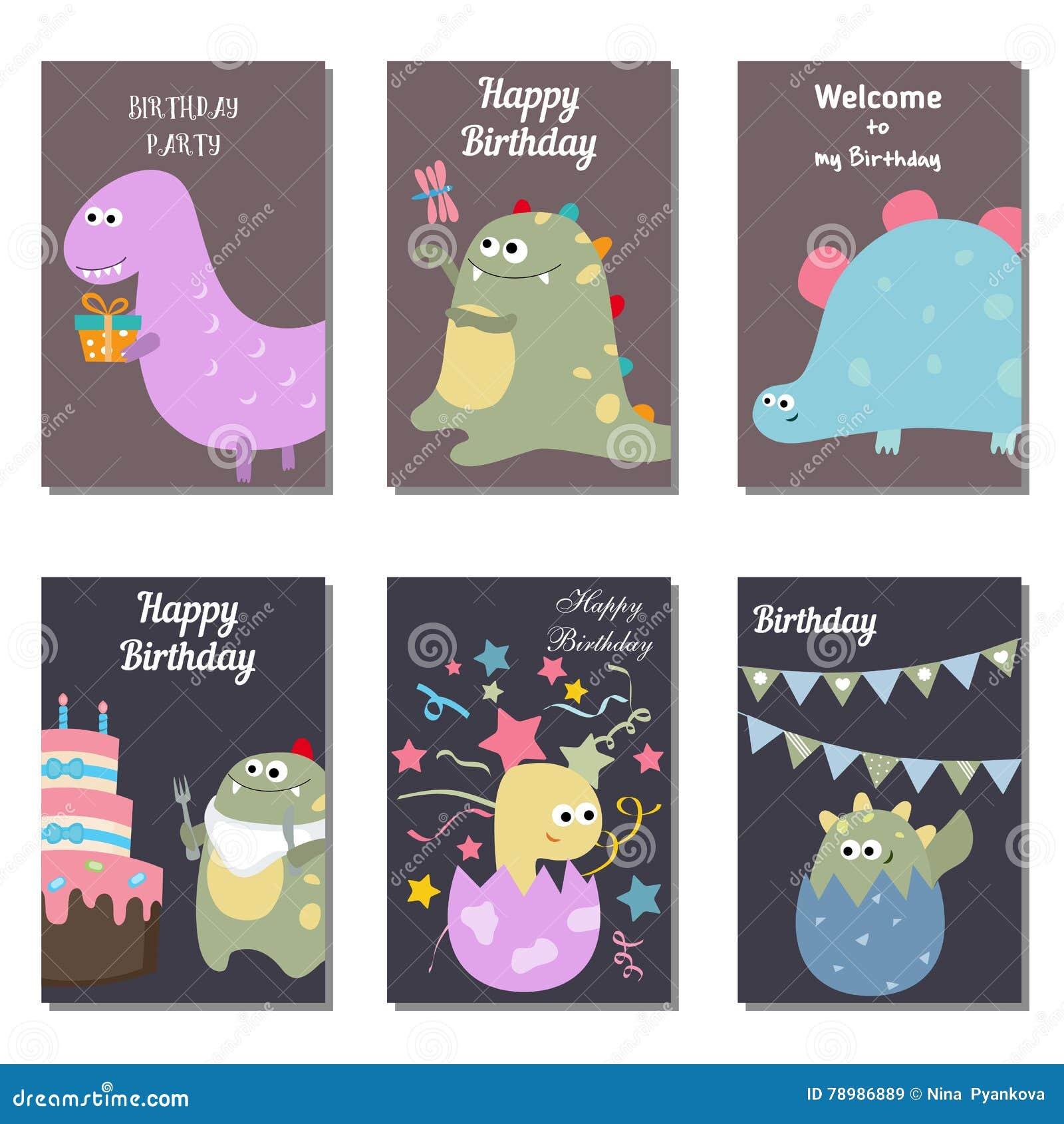 Set Of Beautiful Birthday Invitation Cards Decorated With Cute Cartoon Dinosaurs