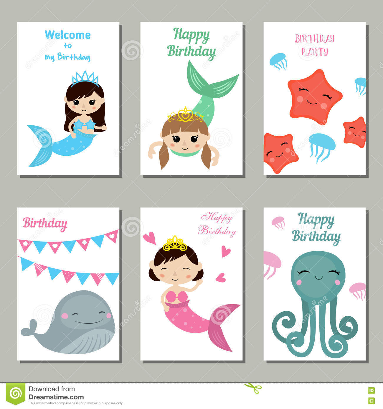 Set Of Beautiful Birthday Invitation Cards Decorated With Girl Mermaids And Sea Animals