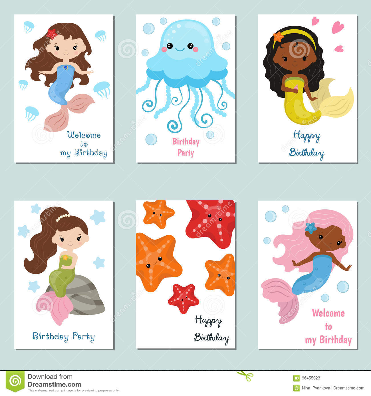 Set Of Beautiful Birthday Invitation Cards Decorated With Cute Girl Mermaids And Sea Animals