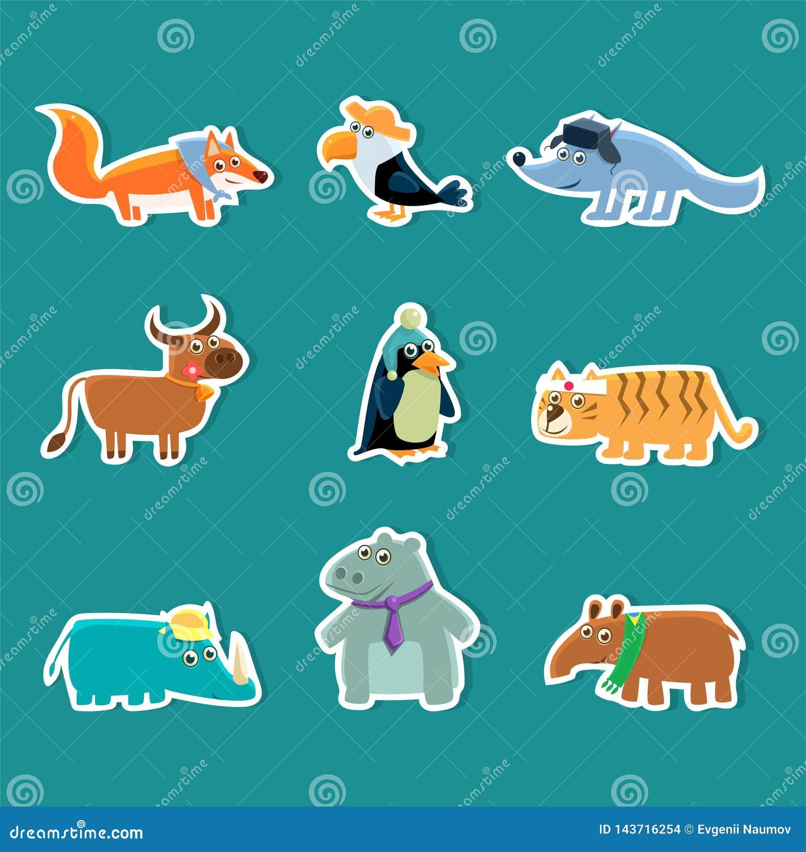 Collection of Cute Cartoon Animal Stickers, Fox, Toucan, Wolf, Cow, Penguin, Tiger, Rhino, Hippopotamus, Aardvark Vector