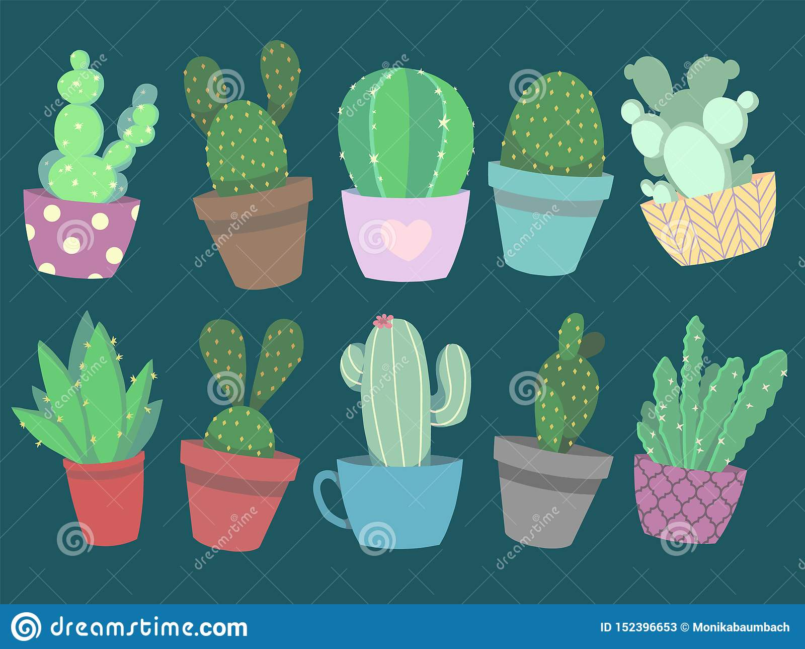 Collection Of Cute Colorful Cartoon Style Vector Cactus And Succulent Plants In Pots Stock Illustration Illustration Of Cartoon Mexican 152396653