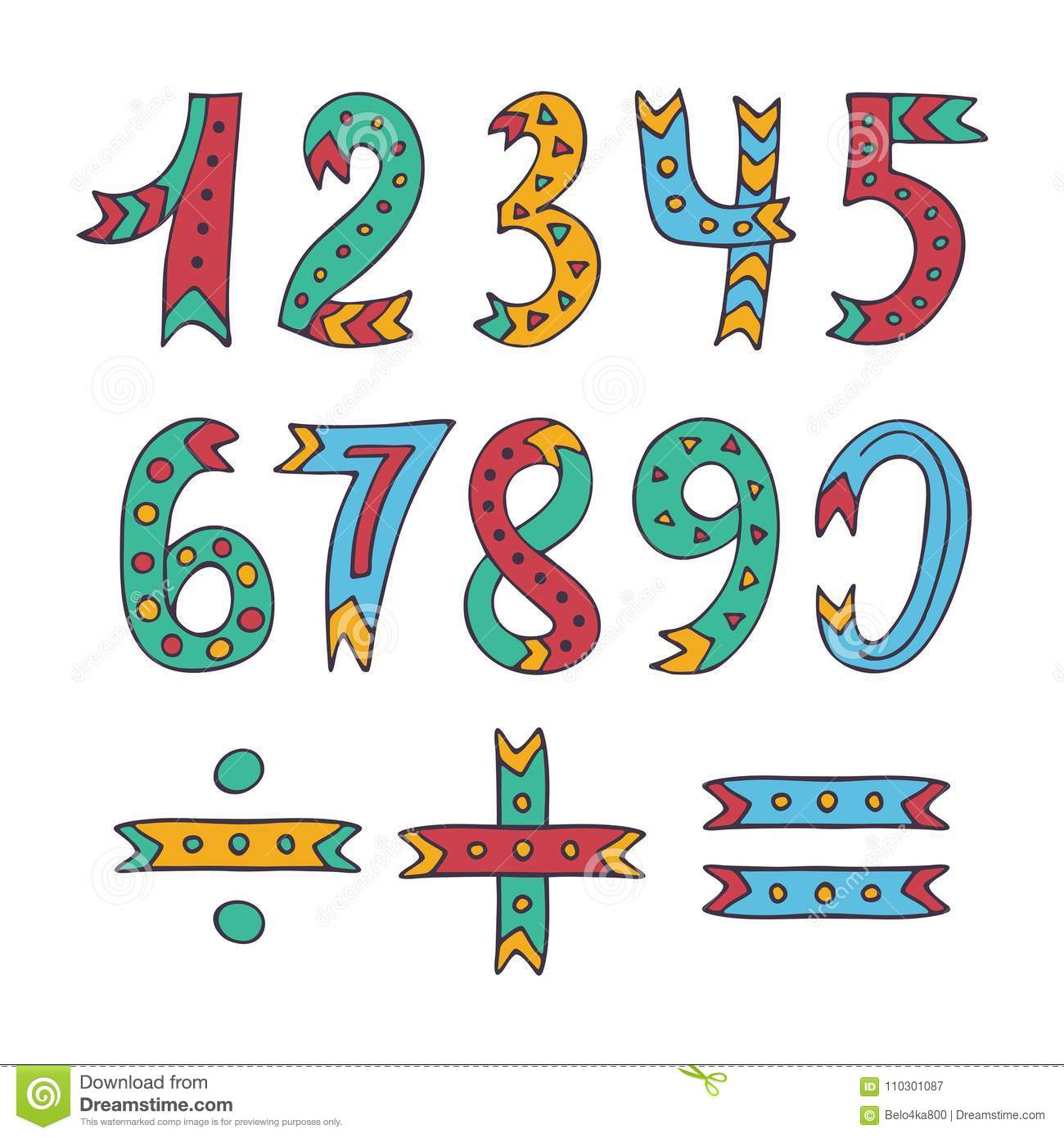 hand drawn sketched and doodled kids numbers isolated on white