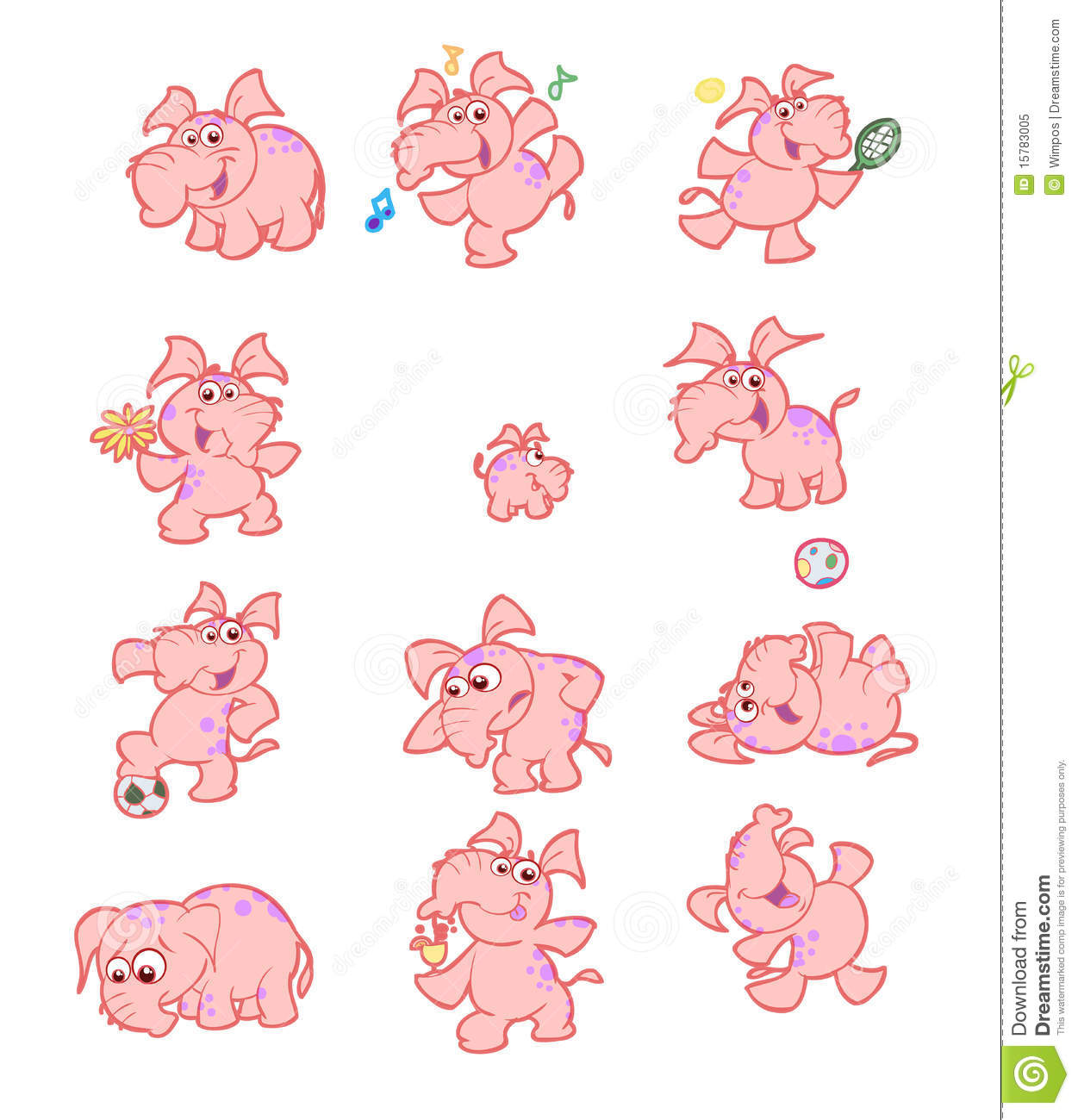 Collection of cute pink elephants