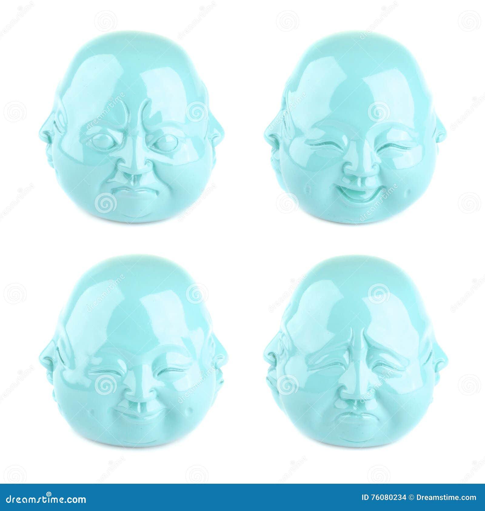 Collection d émotions Quatre vues de statuette de tête de turquoise