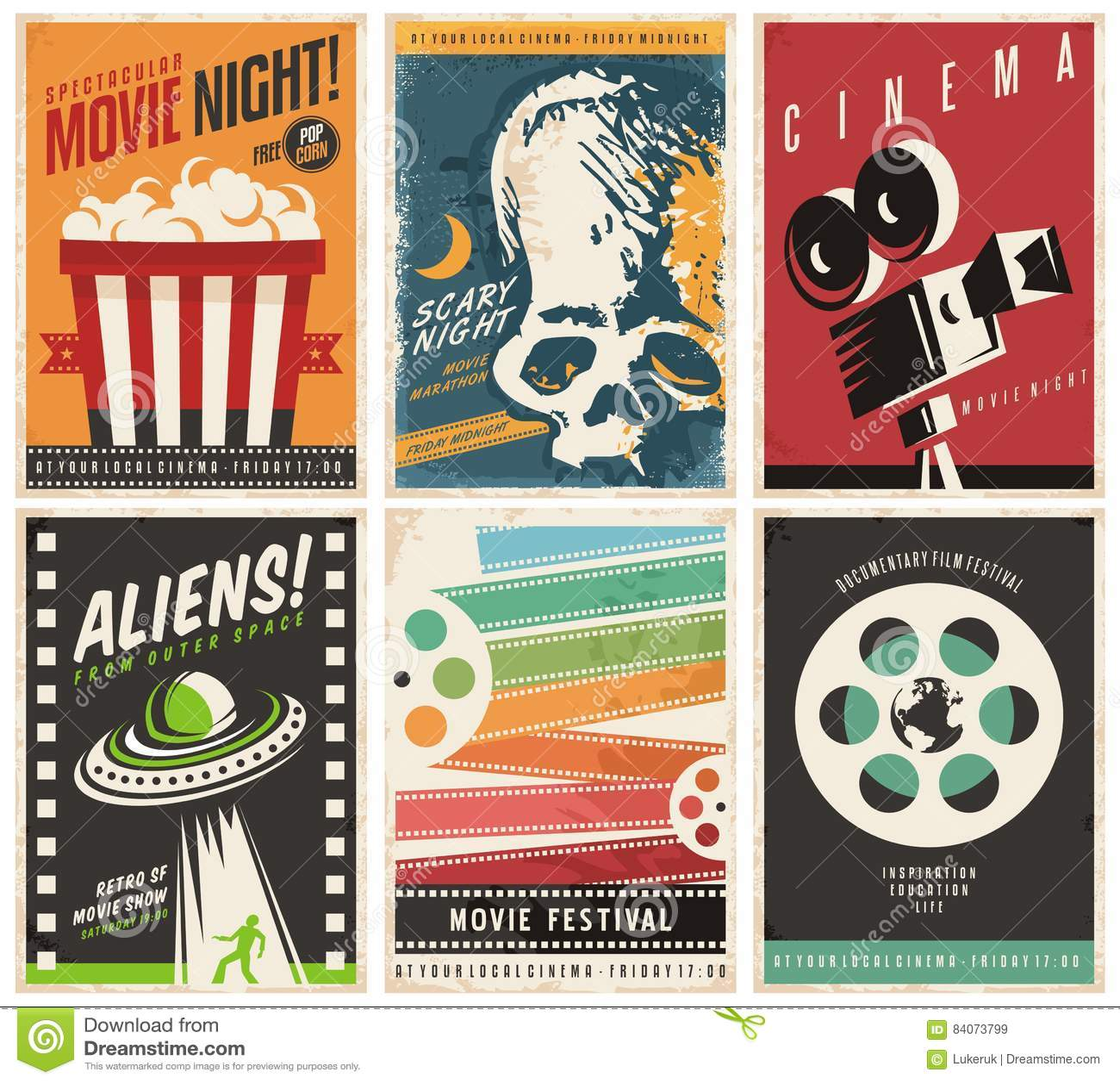 Collection d affiches de cinéma avec différents film et genres et thèmes de film