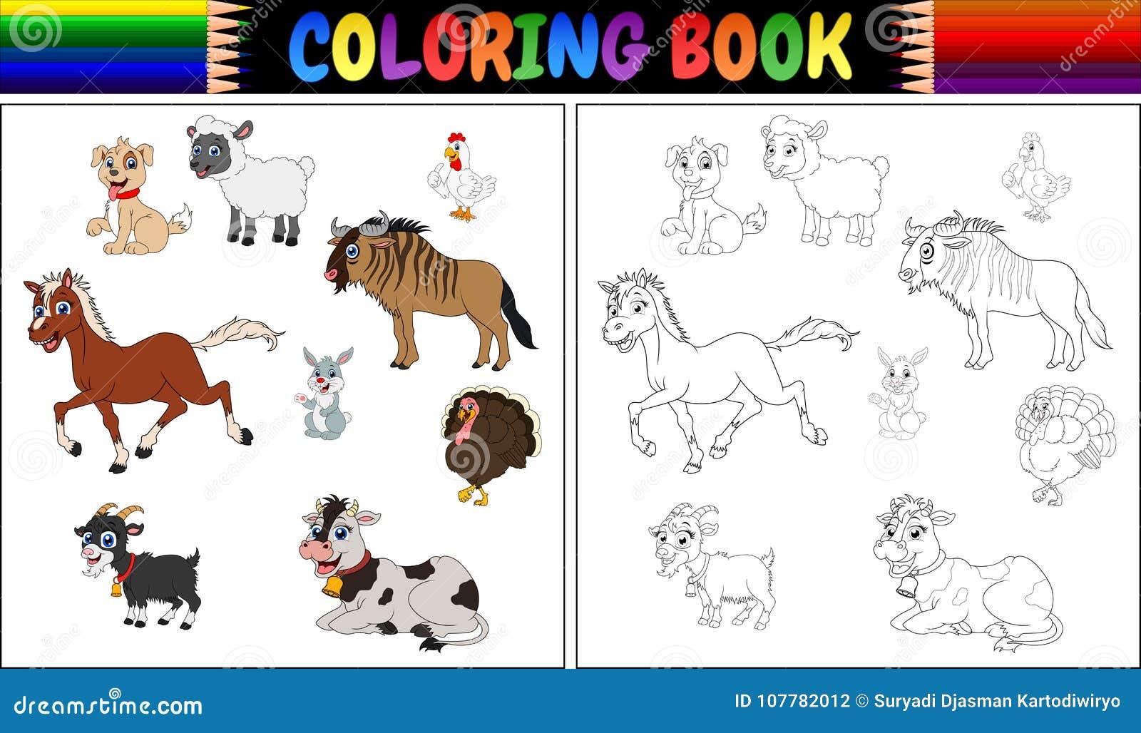 Coloriage Batiment Ferme.Collection D Animaux De Ferme De Livre De Coloriage Illustration De