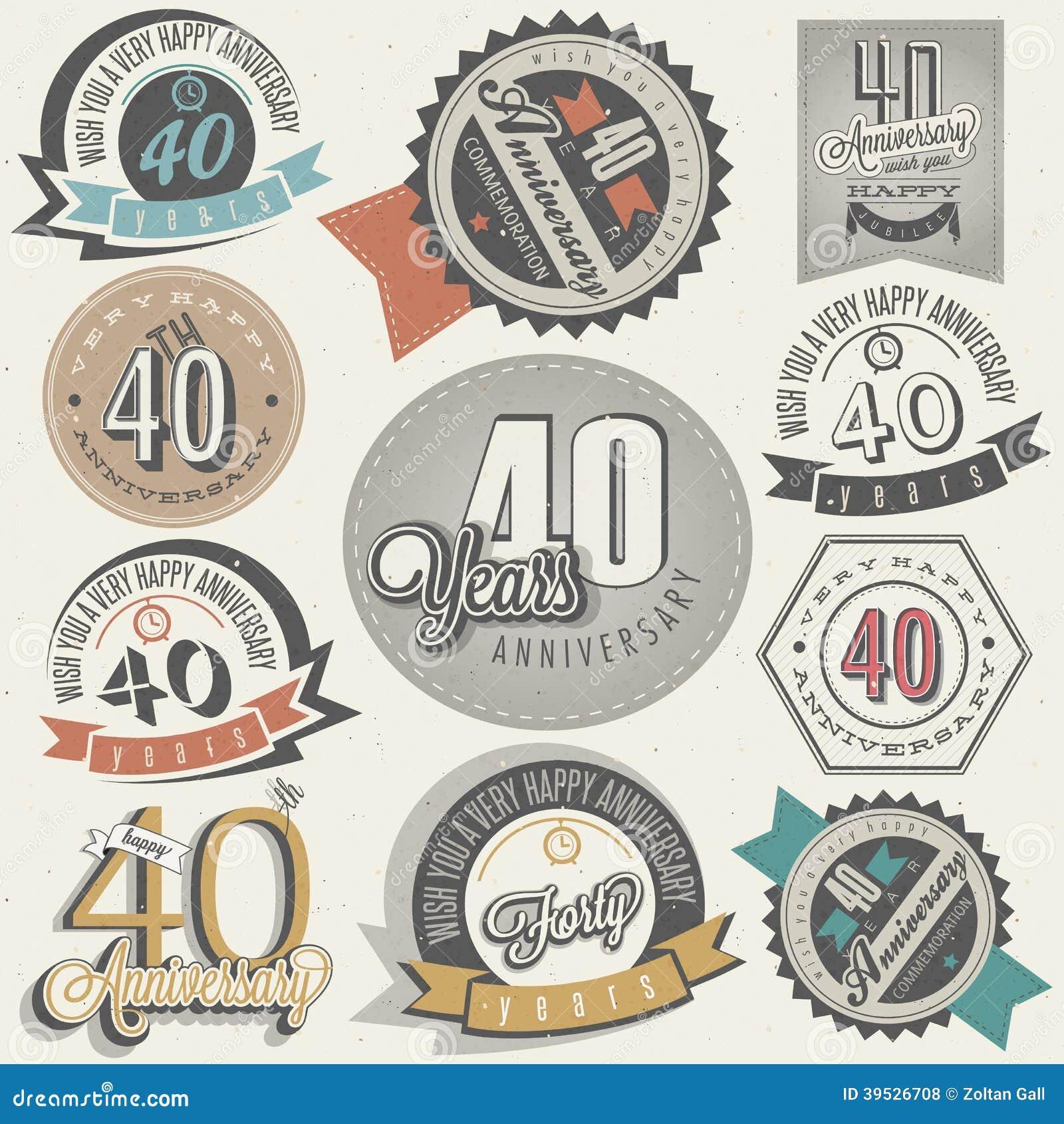 collection d 39 anniversaire du style 40 de vintage illustration de vecteur image 39526708. Black Bedroom Furniture Sets. Home Design Ideas