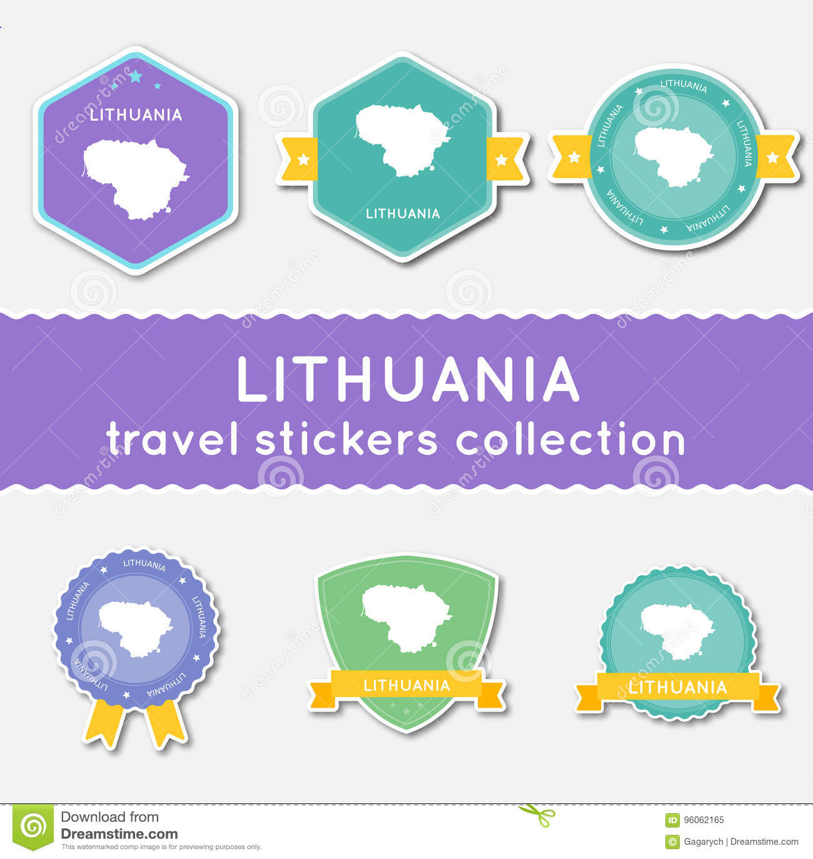 Collection d autocollants de voyage de la Lithuanie