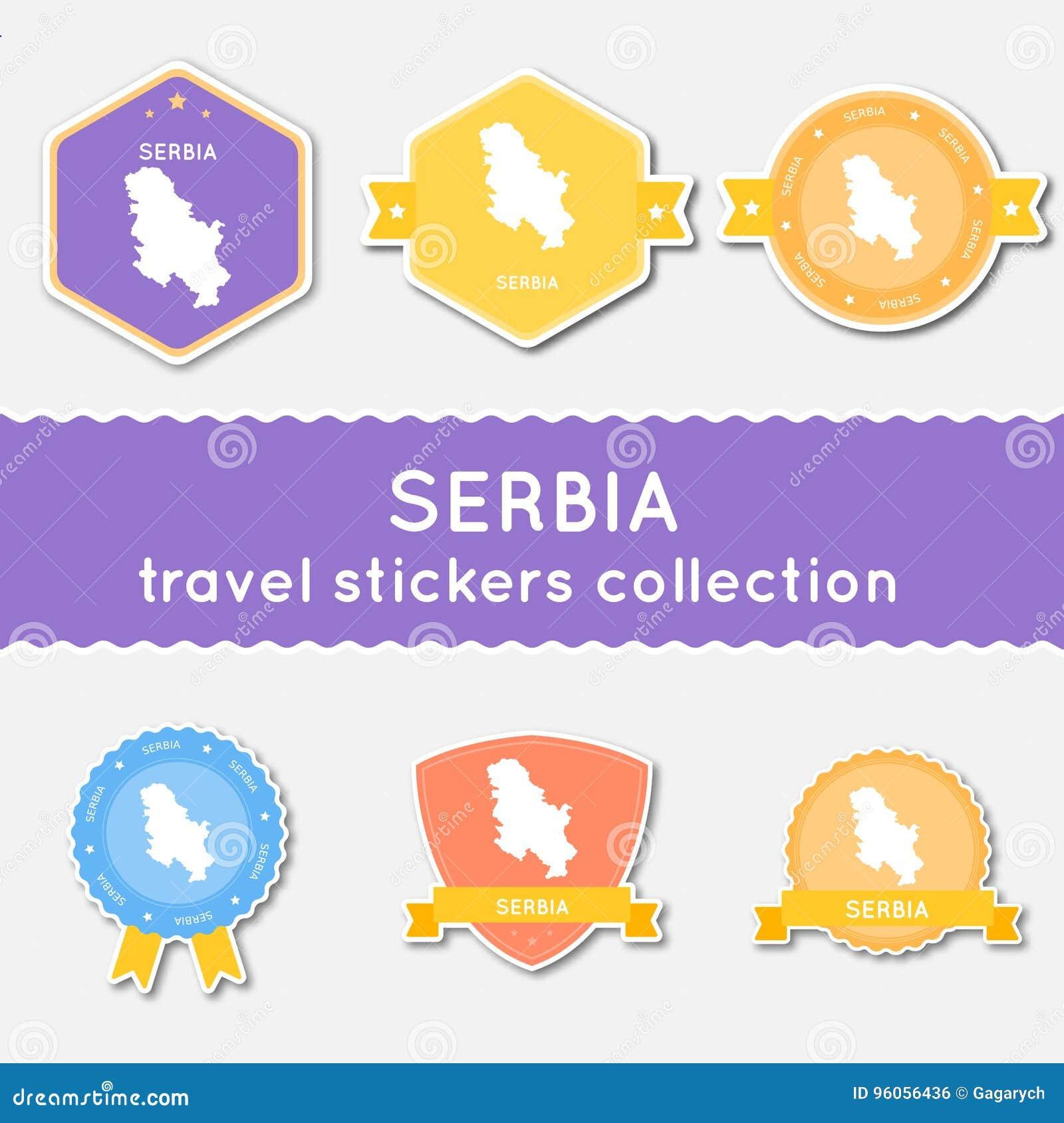 Collection d autocollants de voyage de la Serbie