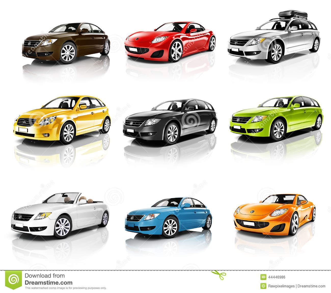 Red, Blue And Yellow Small Electric Cars Stock Image