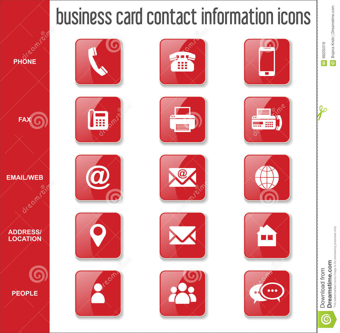Collection D Icones De L Information Contact Carte Visite Professionnelle