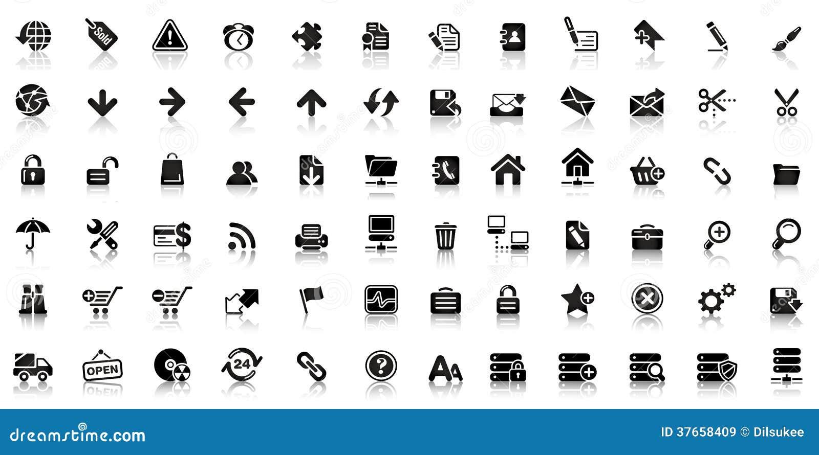 collection d u0026 39 ic u00f4ne noire de web illustration de vecteur