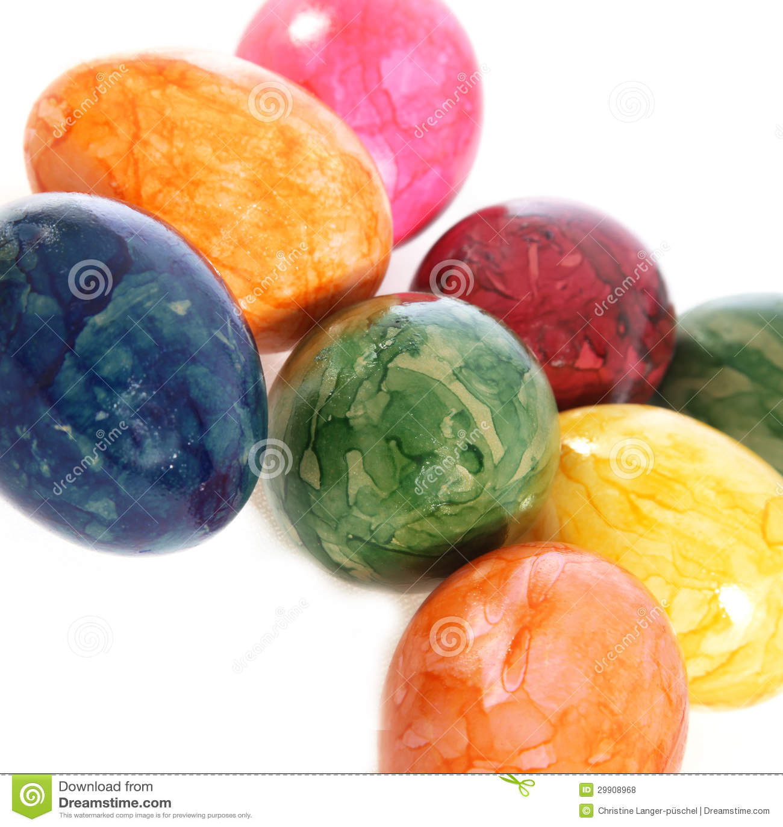 Collection doeufs de pâques marbrés colorés dans les couleurs de l ...