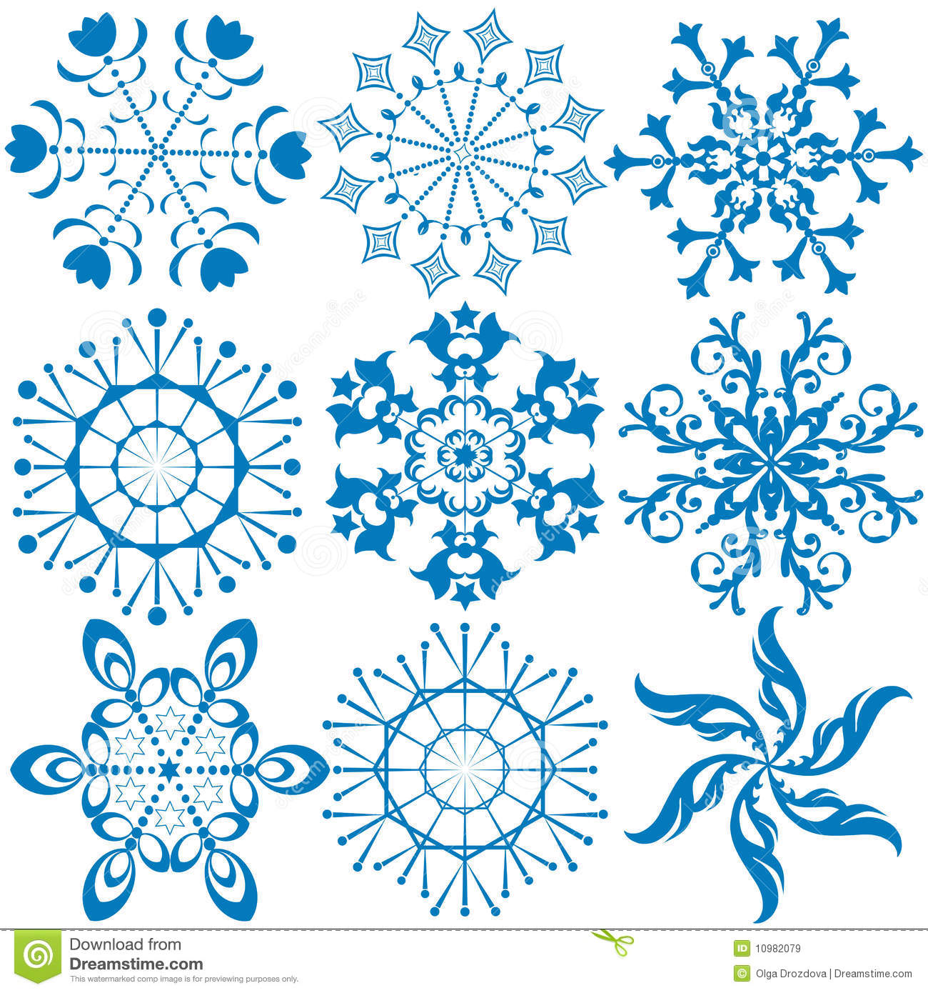 collection dark blue snowflakes vector